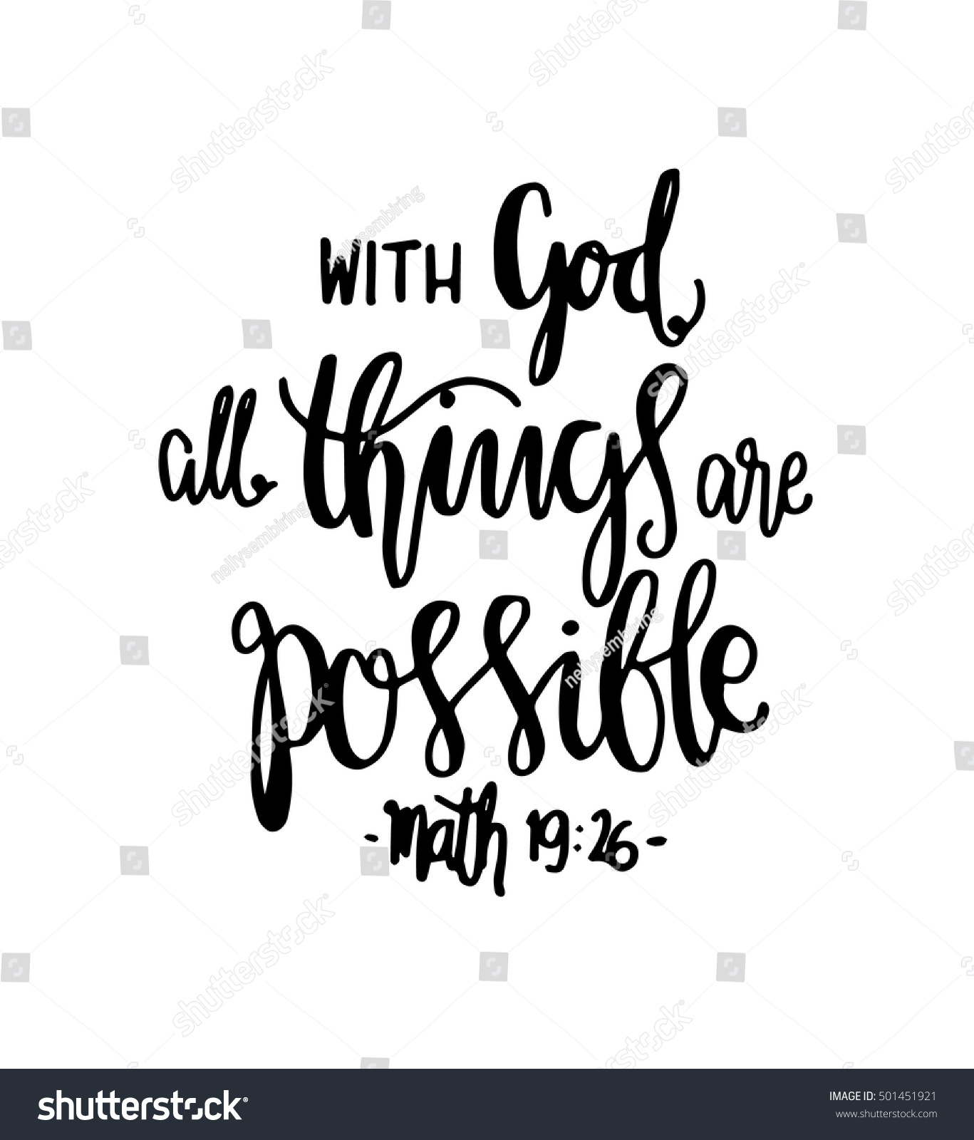 All things possible quote modern calligraphy stock vector