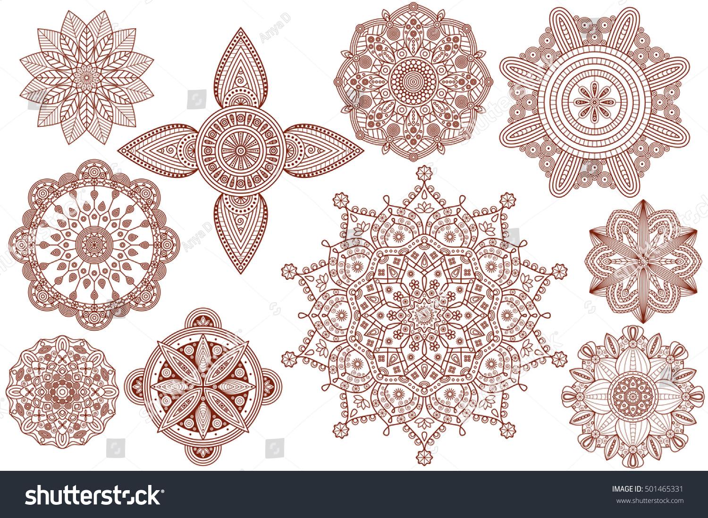 Mehndi Patterns Vector : Collection henna tattoo hindu ornaments stock vector
