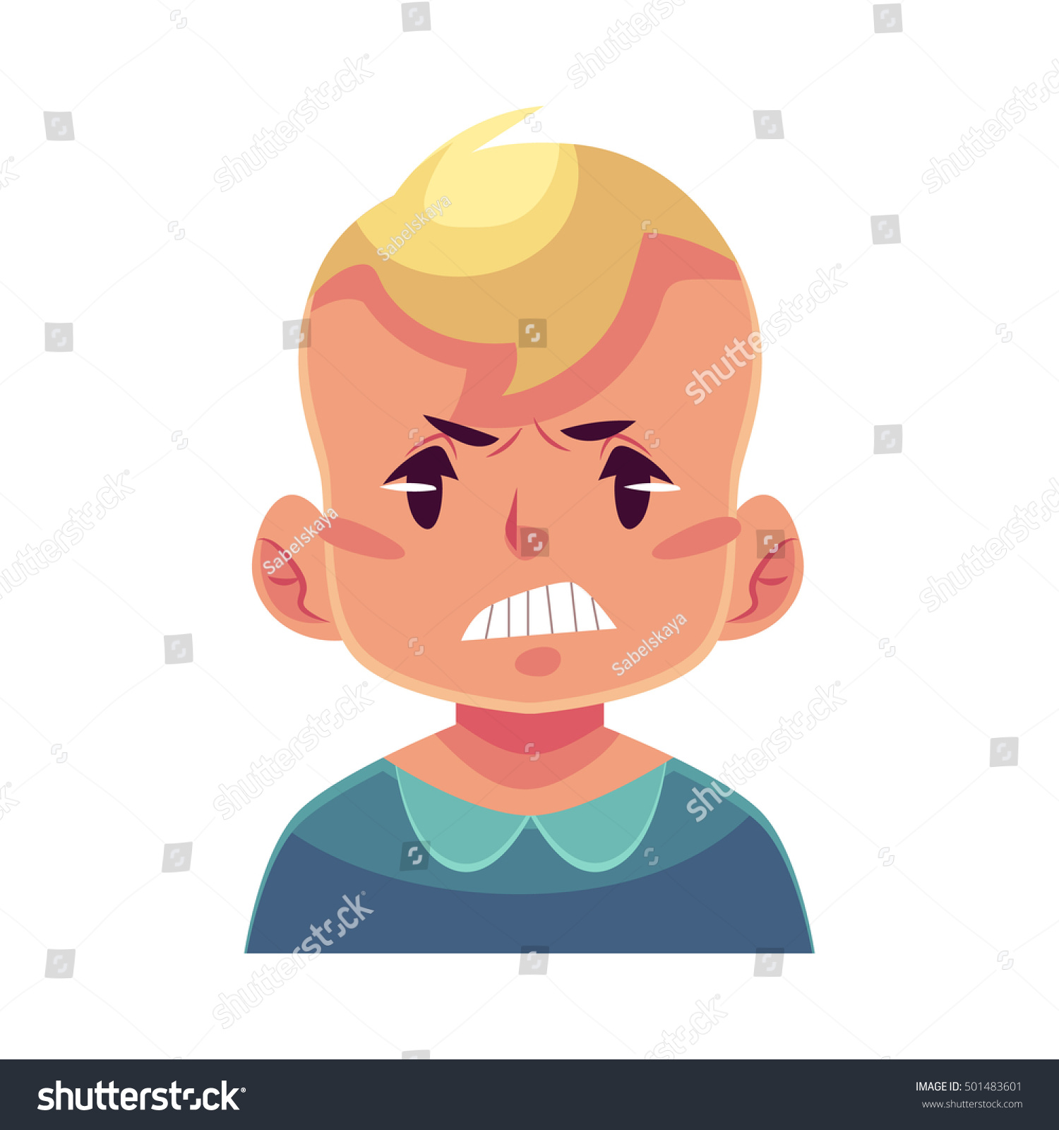 Little Boy Face Angry Facial Expression Stock Vector ...