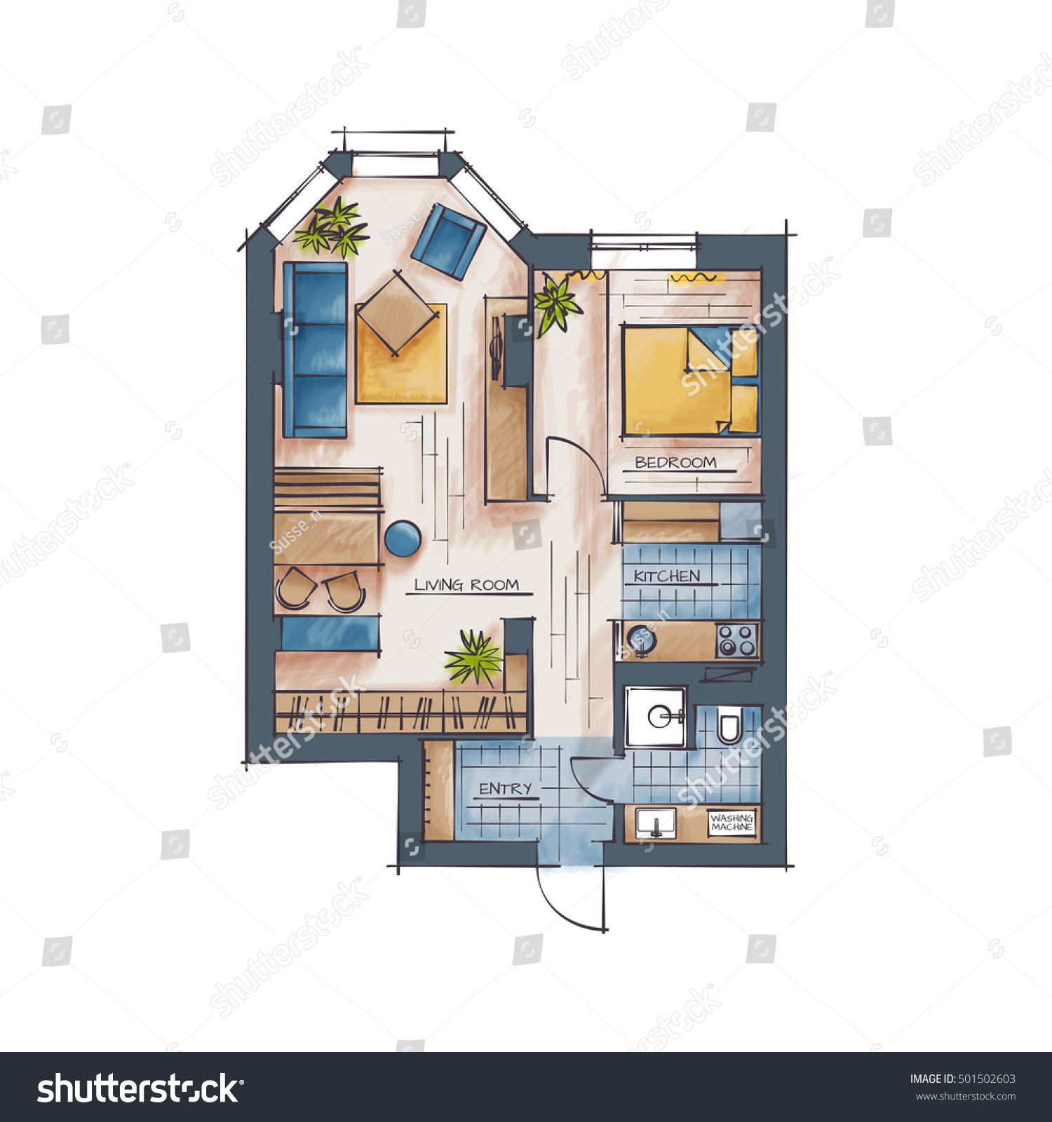 Bedroom drawing with color - Architectural Color Floor Plan One Bedroom Apartment Hand Drawn Style Rendering