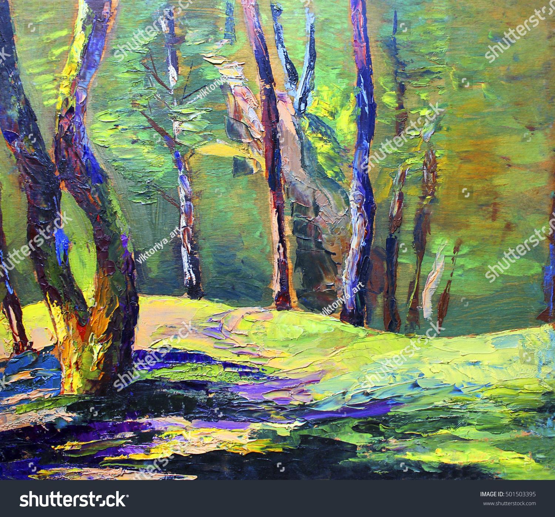Solar Tree Trunks Oil Painting Stock Illustration 501503395 ...