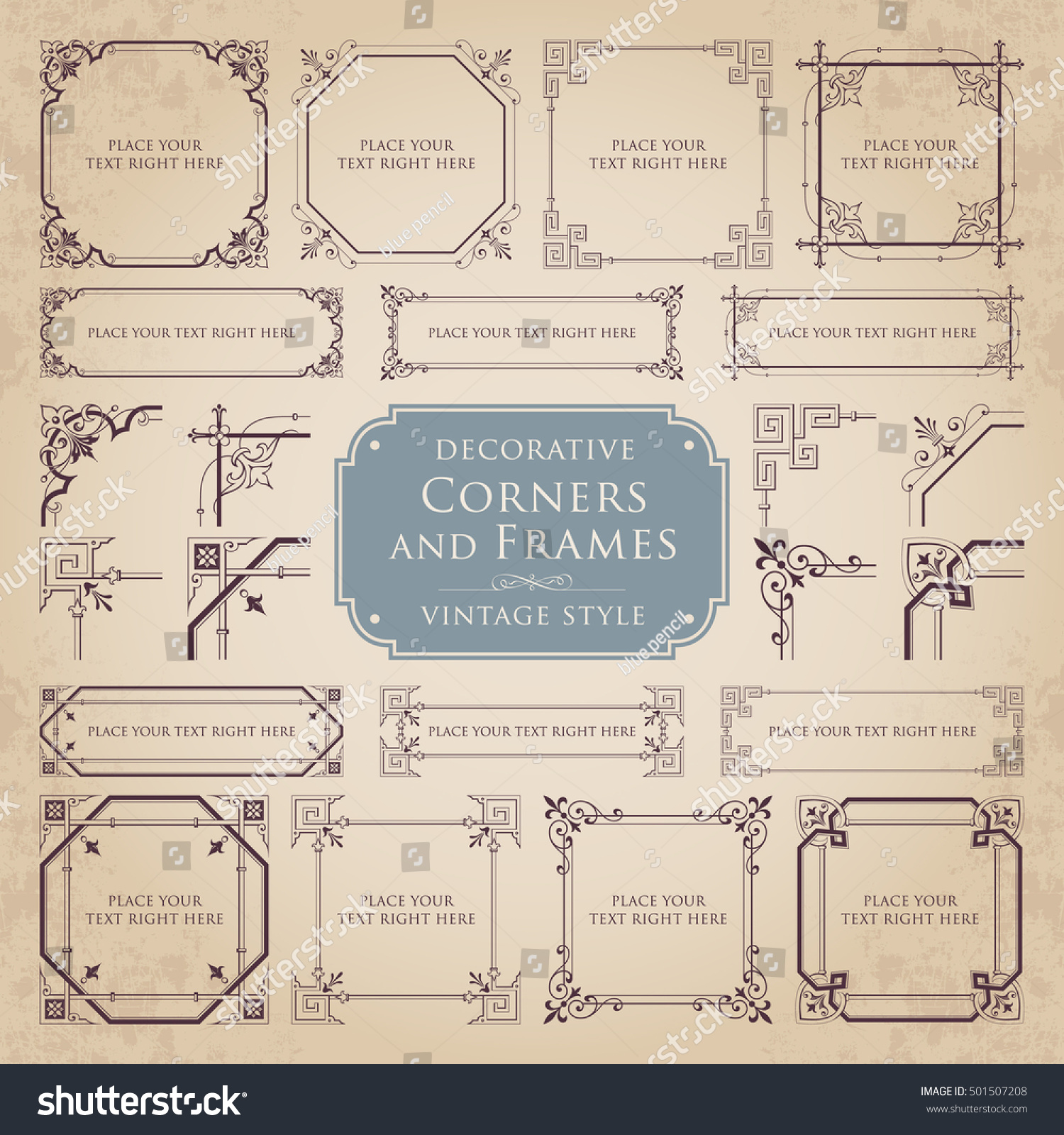 Decorative Corners Frames Vintage Style Stock Vector Royalty Free