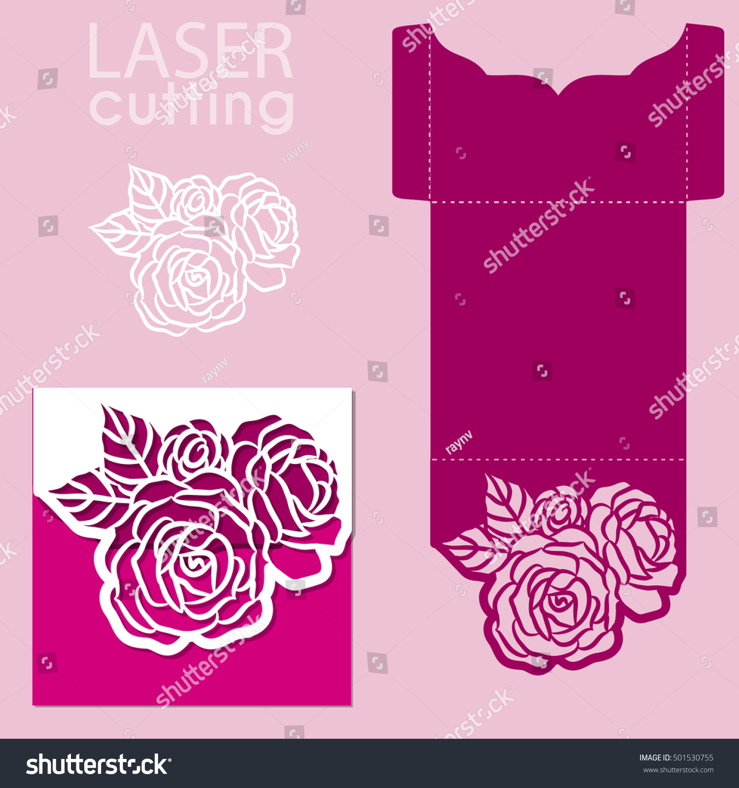vector die laser cut envelope template stock vector 501530755