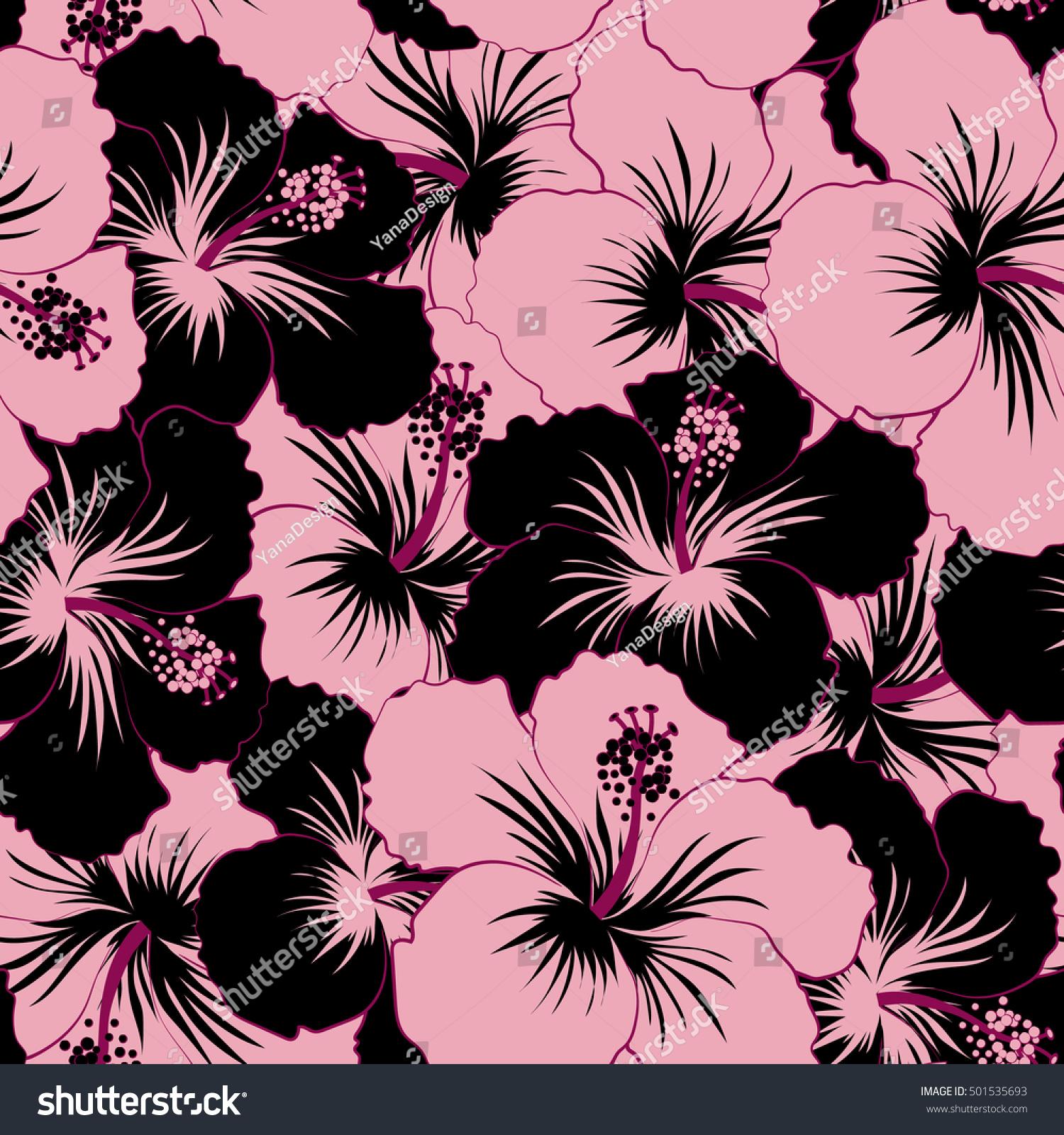 Vector Tropical Leaves Black Pink Flowers Stock Vector 501535693
