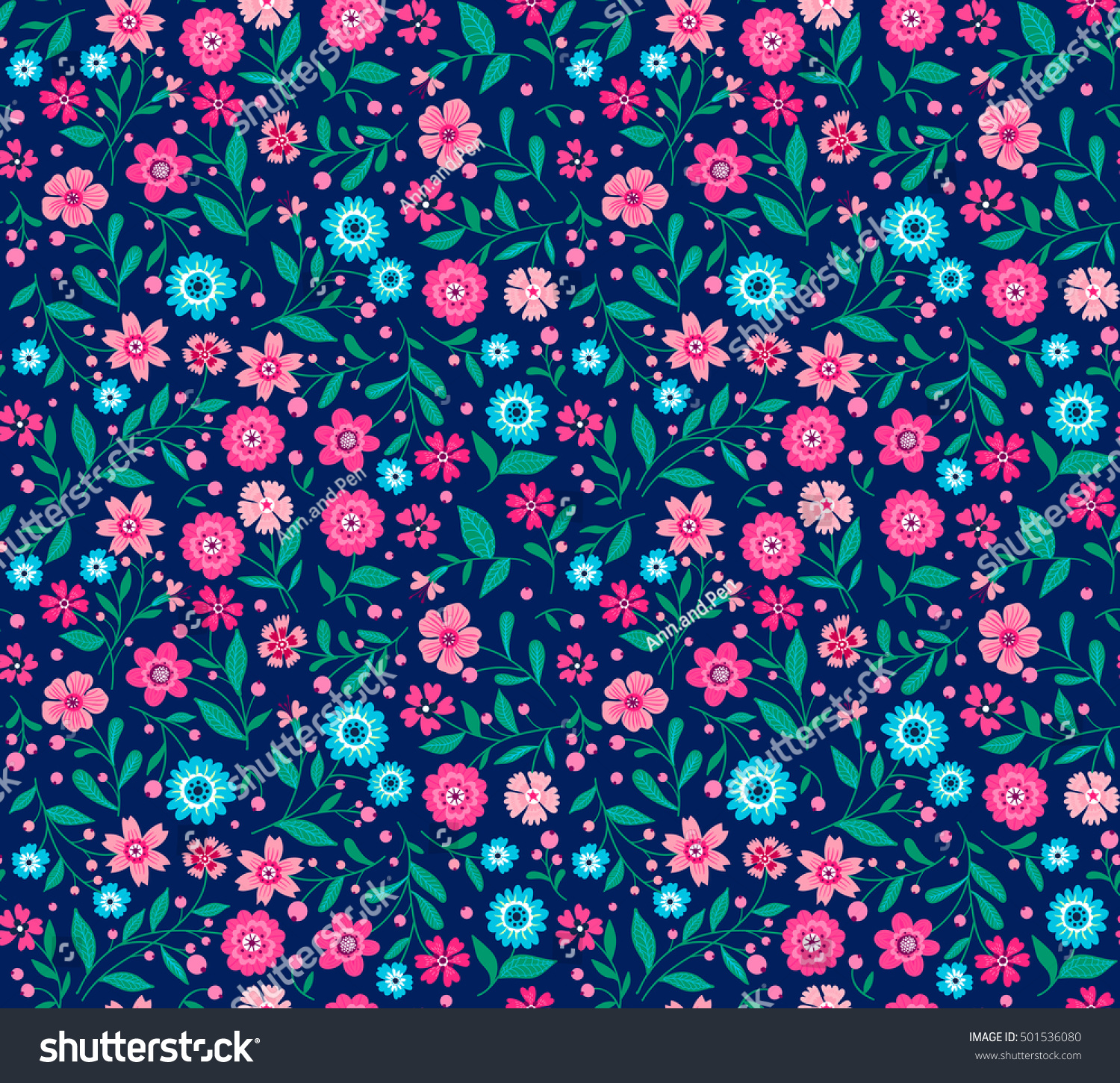 Cute Seamless Pattern In Small Flower Small Pink And Blue Flowers