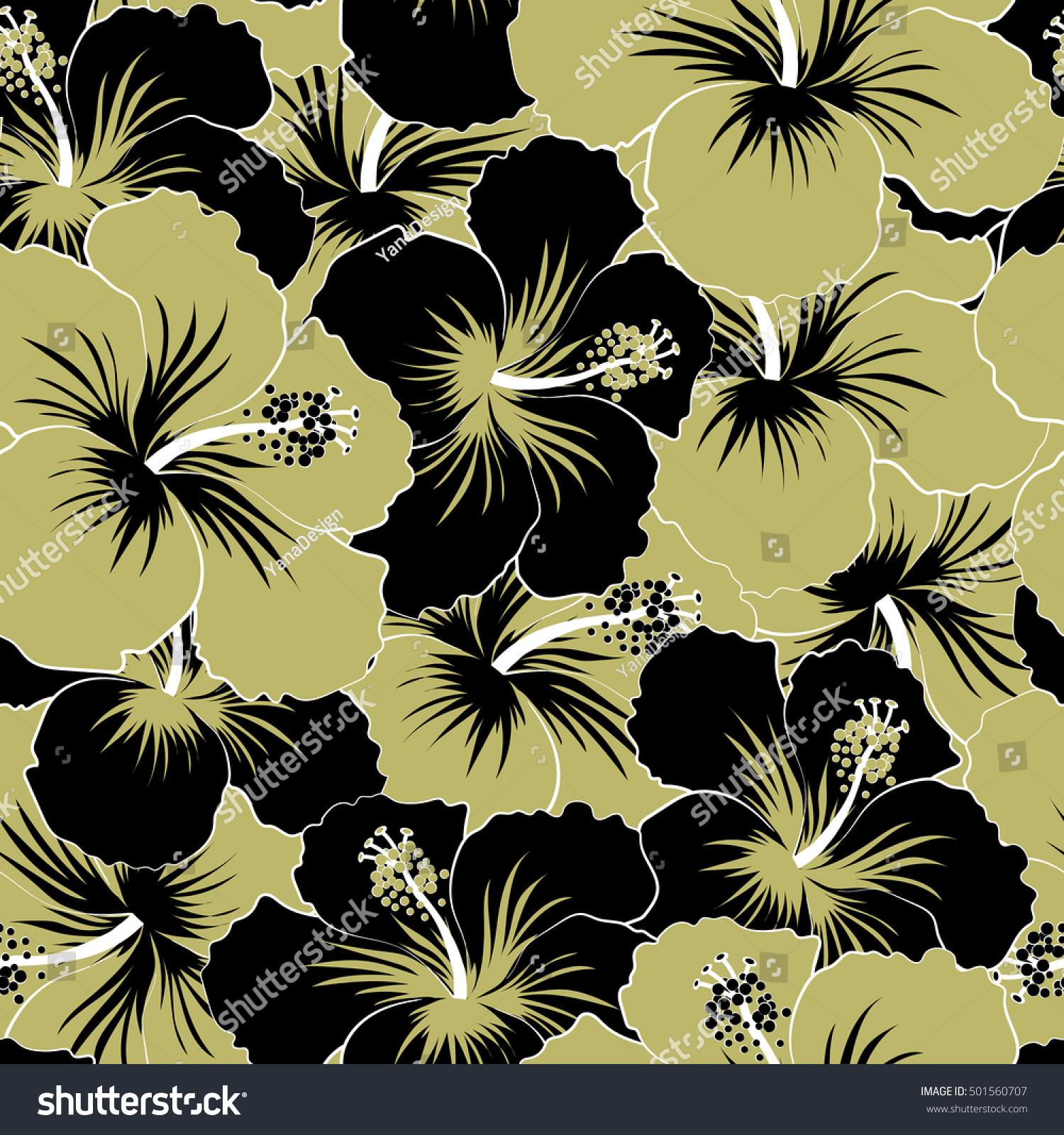 Beige black hibiscus flowers trendy vector stock vector royalty beige and black hibiscus flowers in a trendy vector style hawaiian tropical natural floral seamless izmirmasajfo