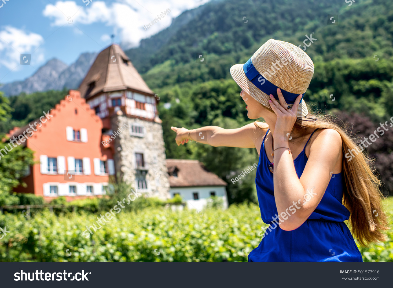 portrait young female tourist near famous stock photo royalty free