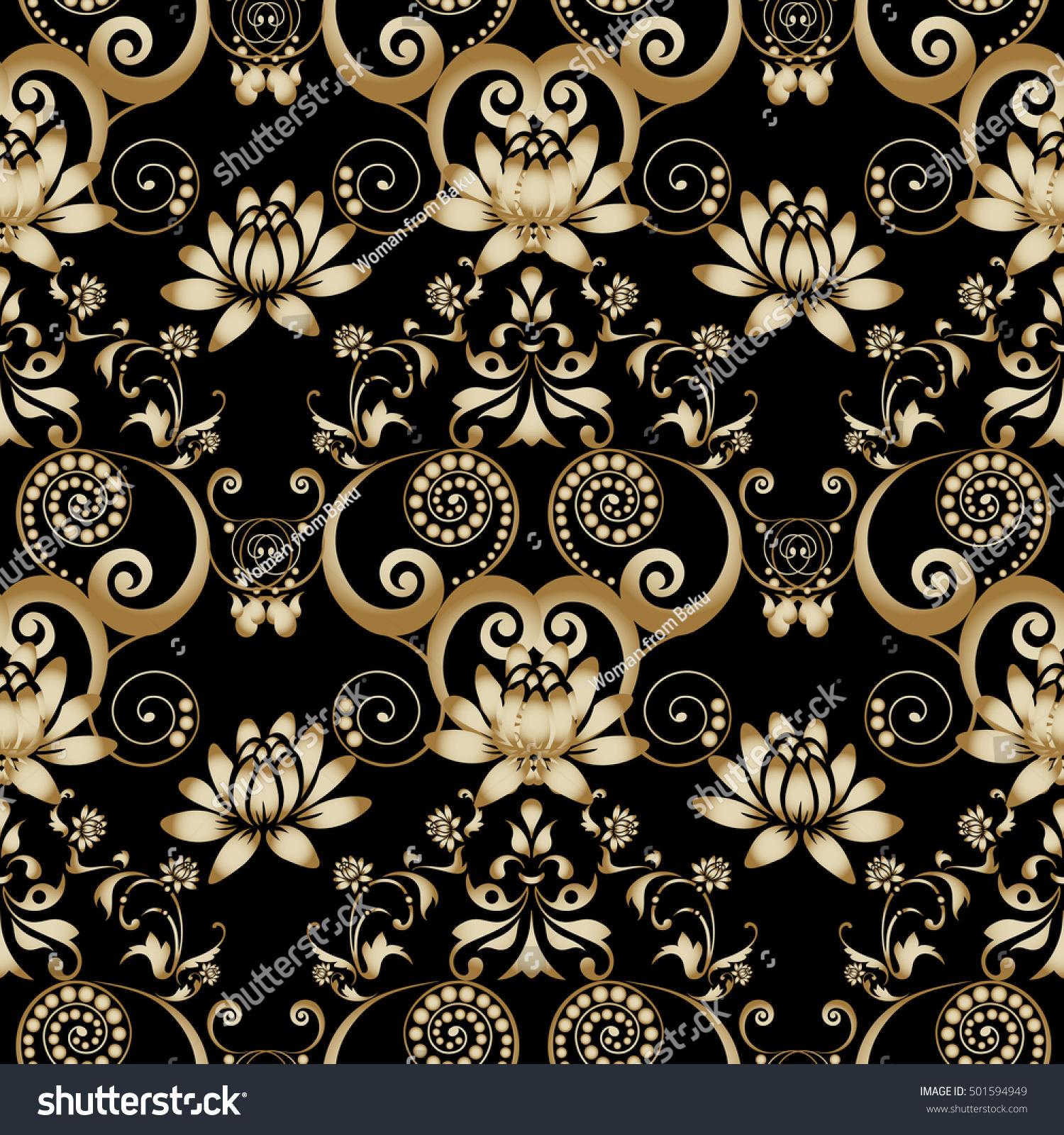 Luxury Black Floral Baroque Damask Vector Stock Vector Royalty