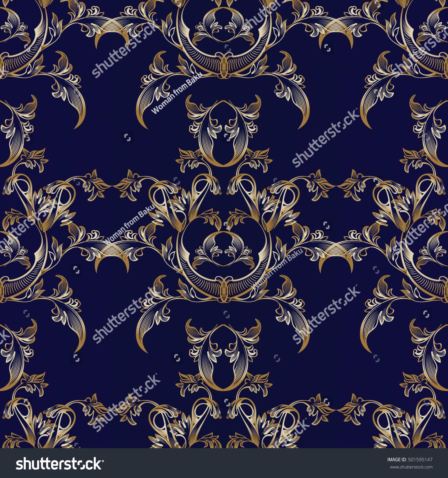 Elegant Dark Blue Floral Baroque Damask Vector Seamless Pattern Background Wallpaper Illustration With 3d Vintage Decorative