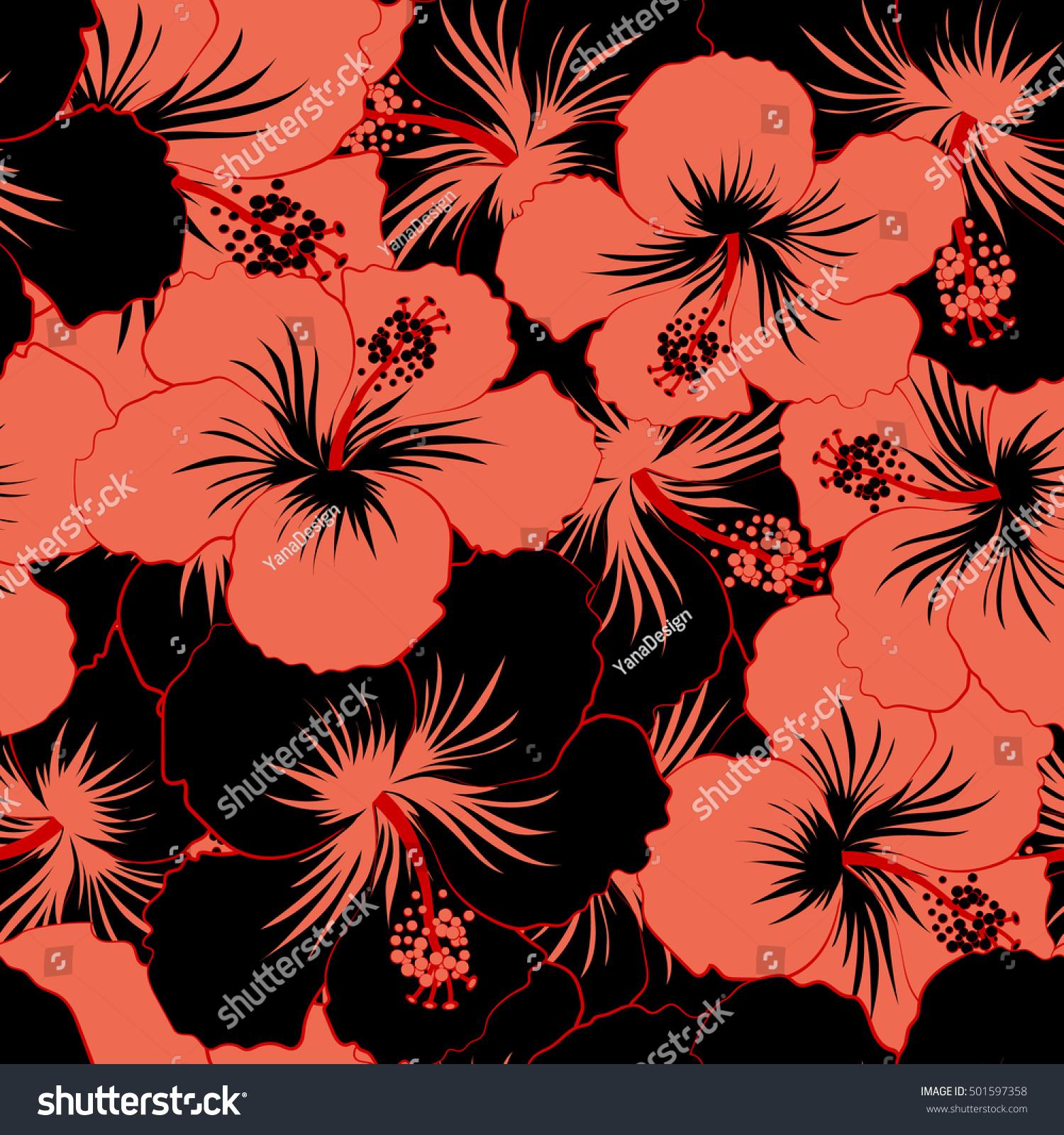 Vector Tropical Leaves Black Pink Flowers Stock Vector 501597358