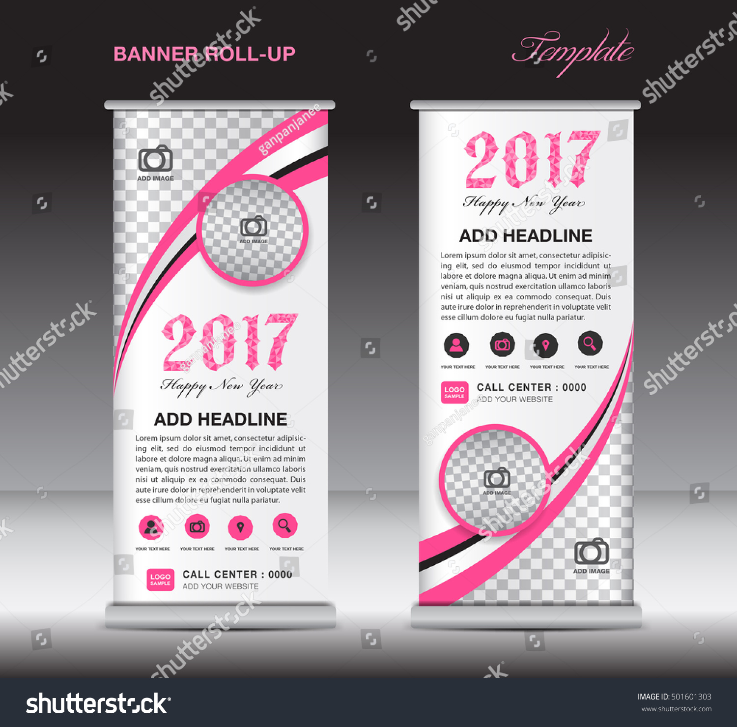 Pink Roll Banner Template Banner Design Stock Vector 501601303 ...