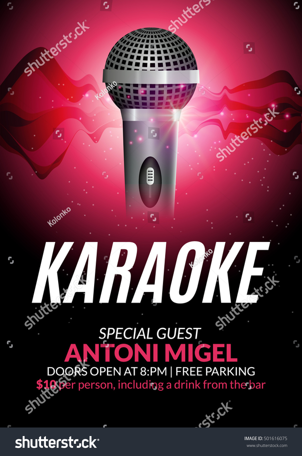 Karaoke Party Invitation Poster Design Template Stock