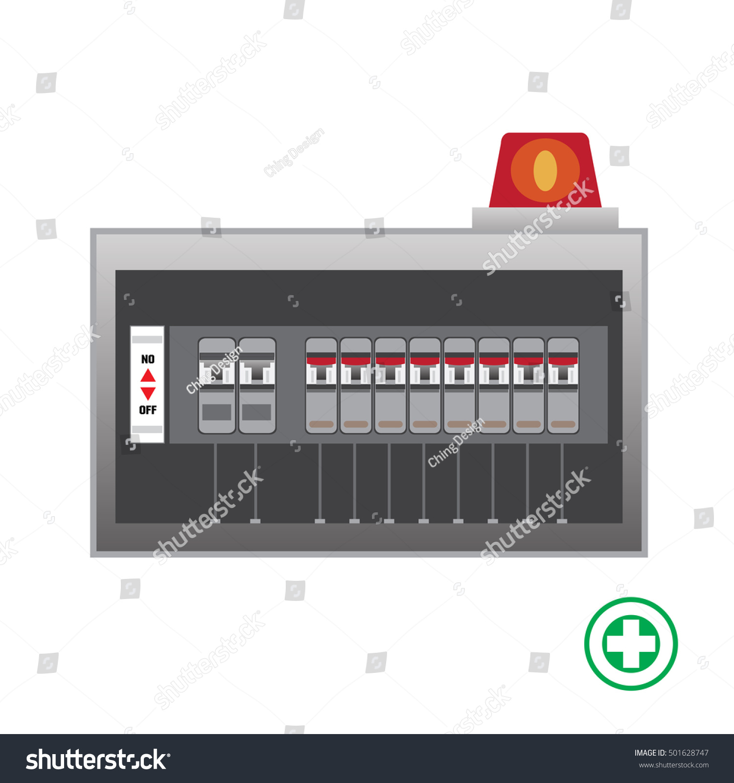 Electrical Panel Switch On Offbreakers Vector Stock Photo (Photo ...