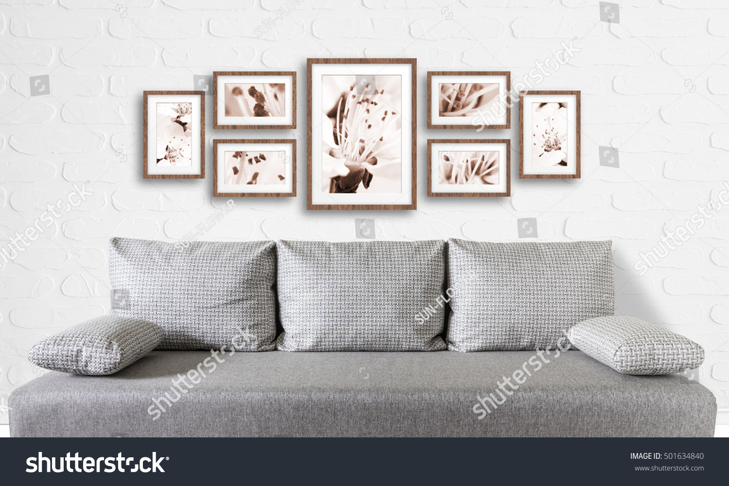 Frames Collage Floral Posters On Bricks Stock Photo (Edit Now ...