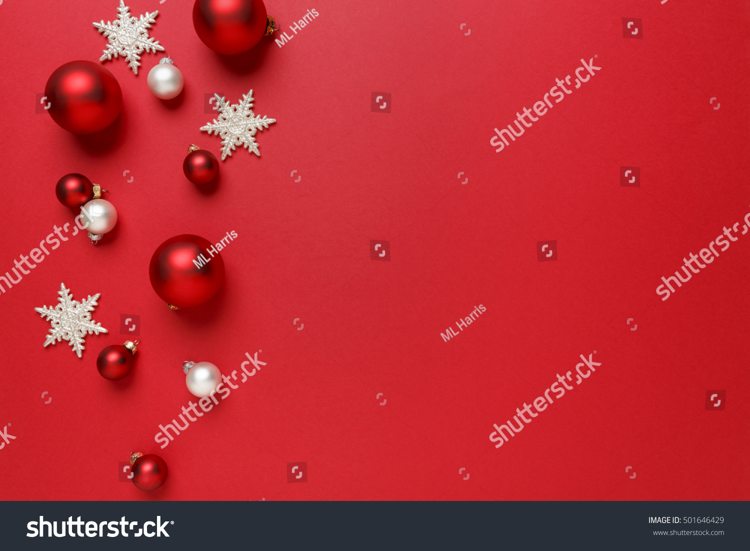 Christmas ornaments decorations background classic red
