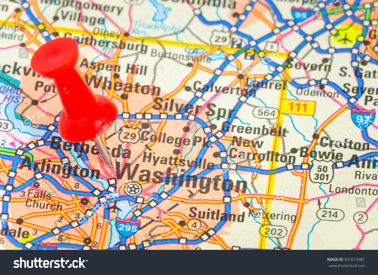 Red pushpin highlighting washington dc on stock photo 501673981 red pushpin highlighting washington dc on a road map shallow depth of field publicscrutiny Images