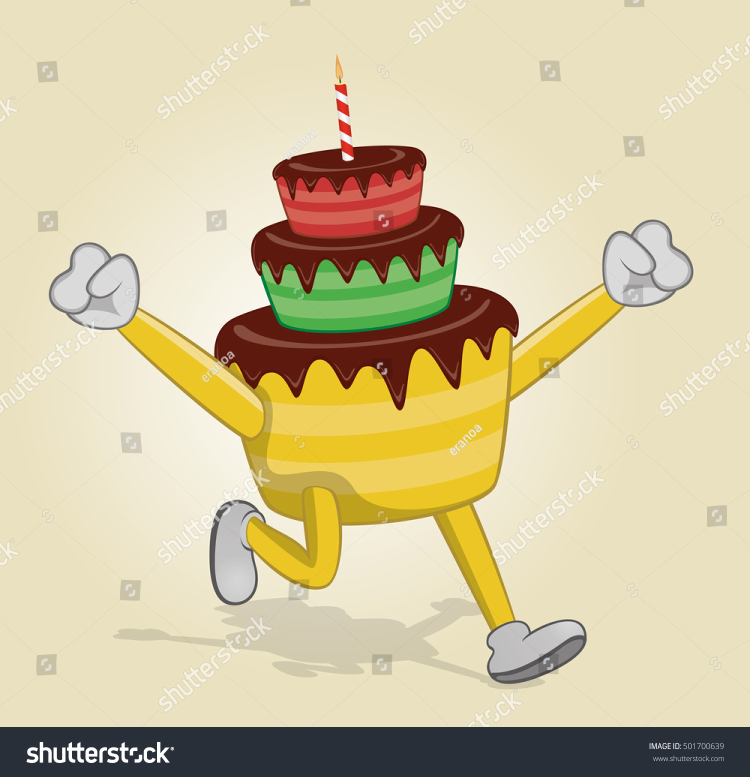 Running Birthday Cake Two Hands Stock Vector Royalty Free