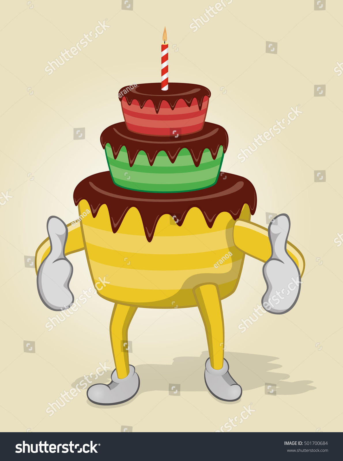 Birthday Cake Two Thumbs Stock Vector Royalty Free 501700684