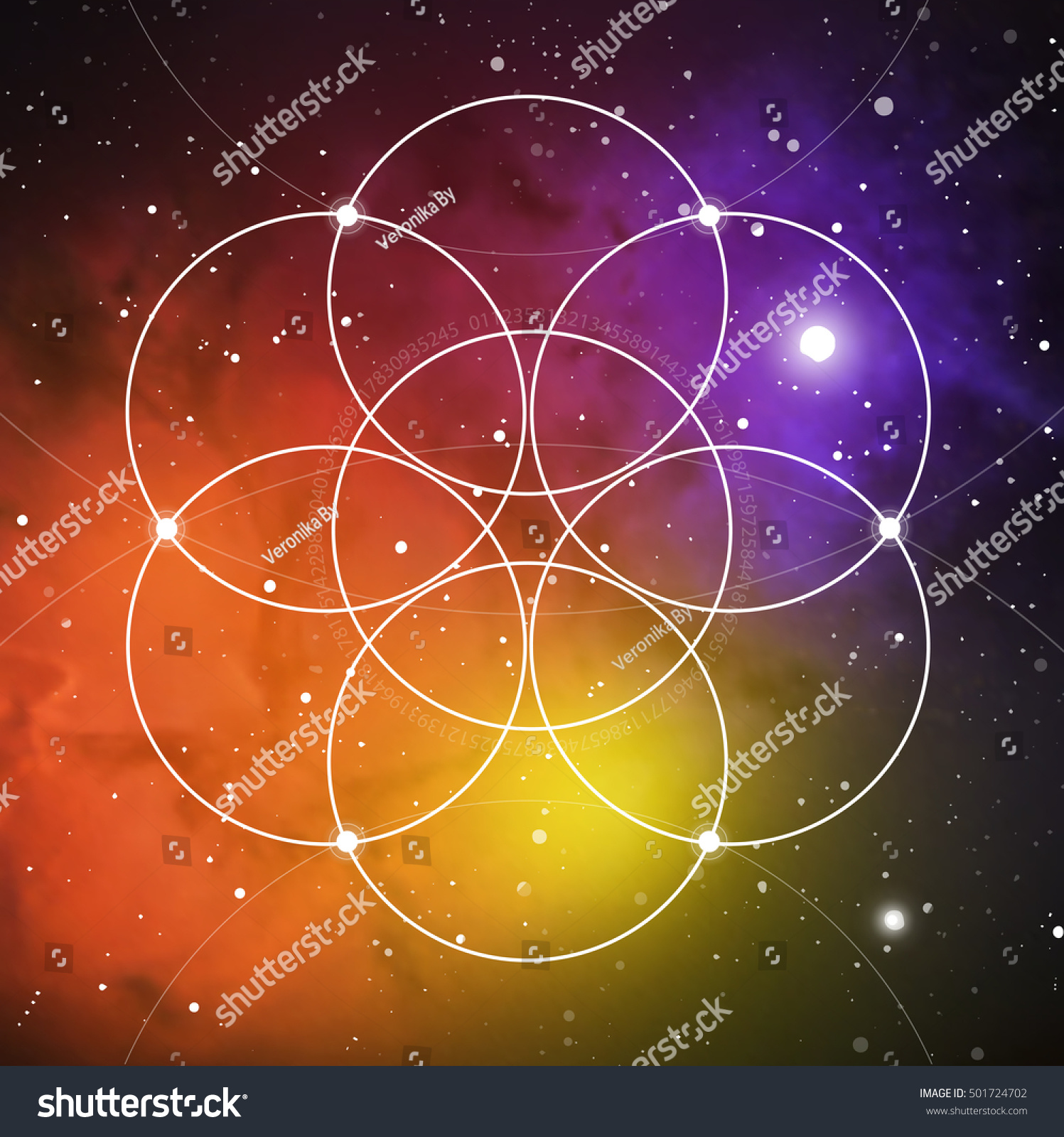 Flower Of Life The Interlocking Circles Ancient Symbol On Outer