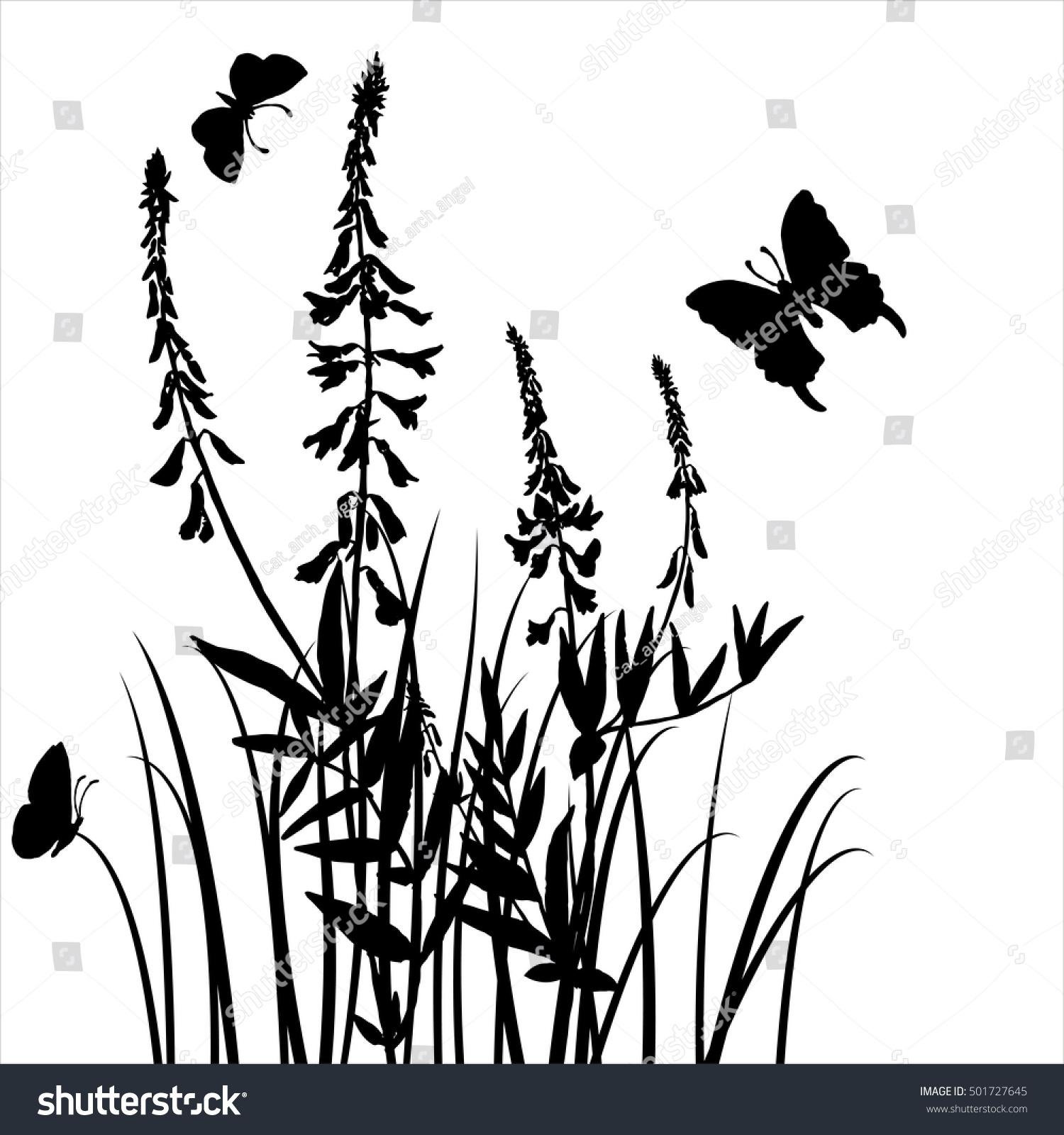 Vector Silhouettes Flowers Grass Butterflies Background Stock Vector ...
