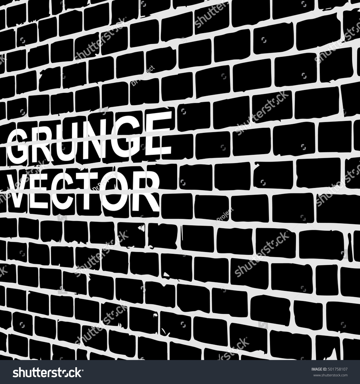 Old brick wall with diminishing perspective grunge vector graffiti abstract vintage background