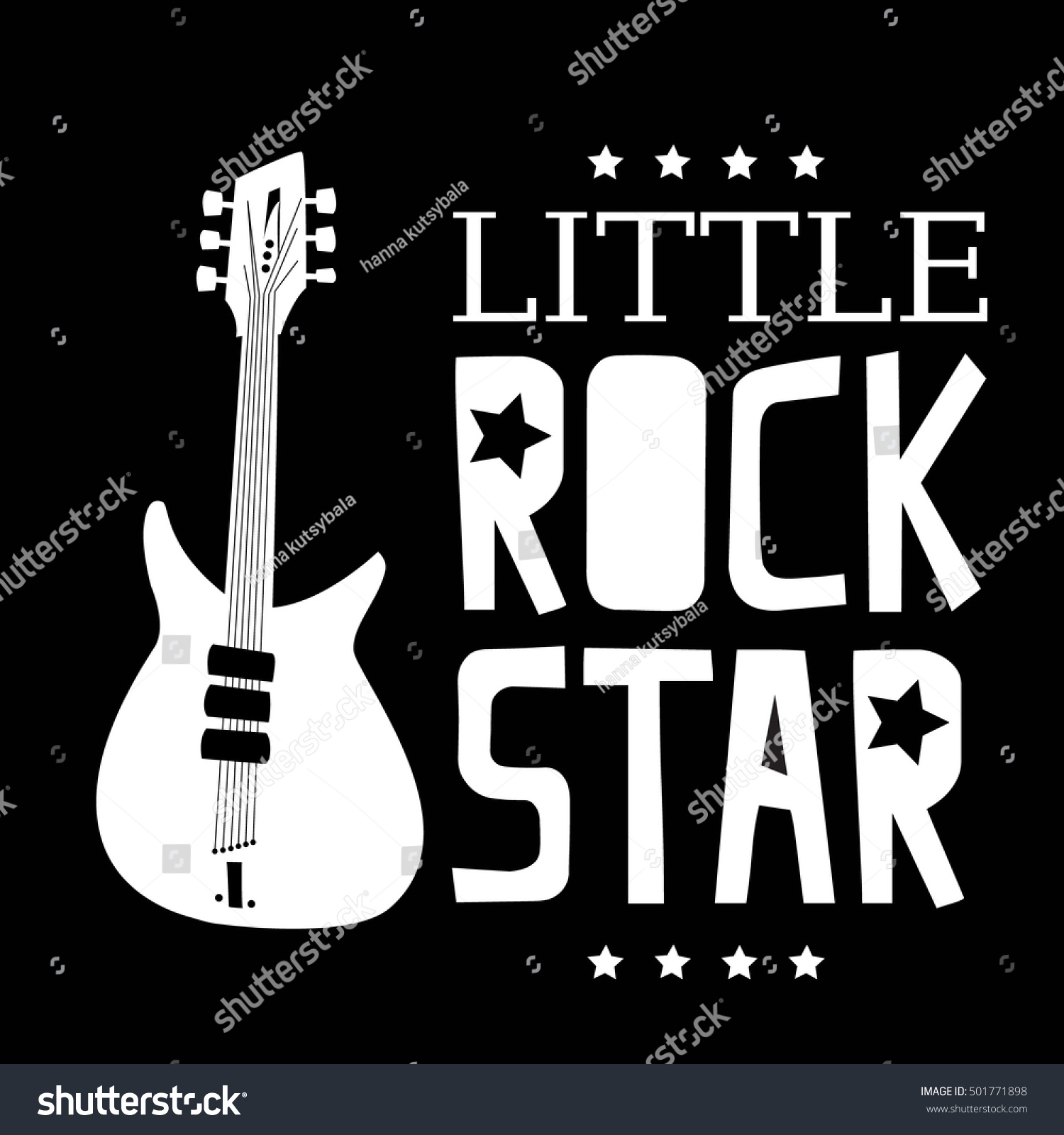 Little rock star typography graphic print stock vector for A design and color salon little rock