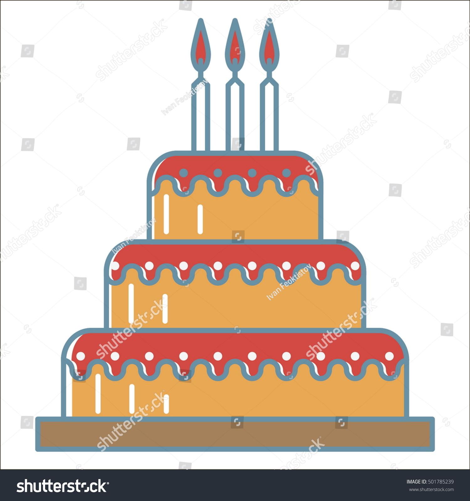 Immagine Vettoriale A Tema Cake Icon Thin Line Vector Cake Royalty
