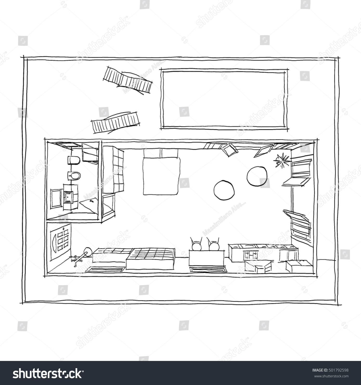 Black Pen Freehand Sketch Drawing Furnished Stock Illustration
