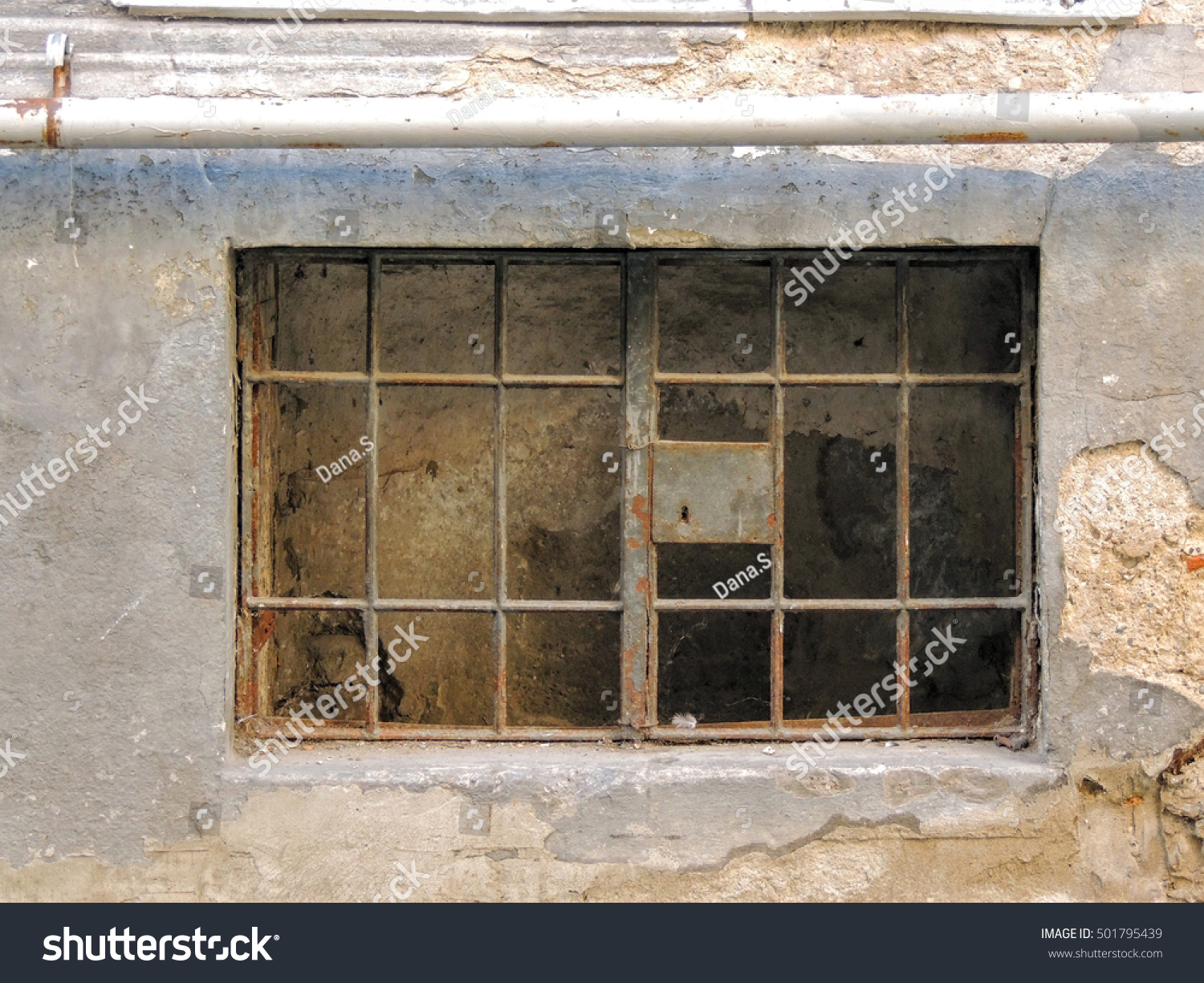 Old basement window set in a crumbling brick and cement wall. The window is closed & Old Basement Window Set Crumbling Brick Stock Photo (100% Legal ...