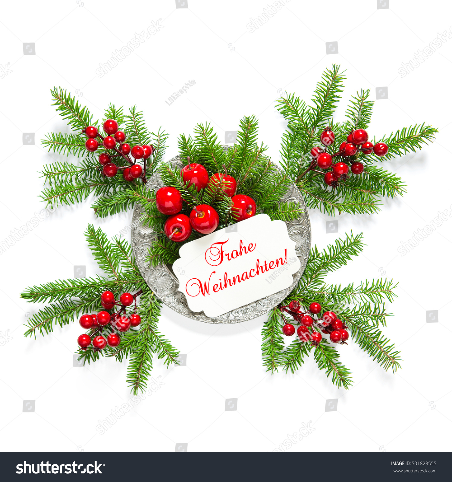 Sample Christmas Tree Decorating Ideas: Christmas Tree Branches With Red Berries And Greetings
