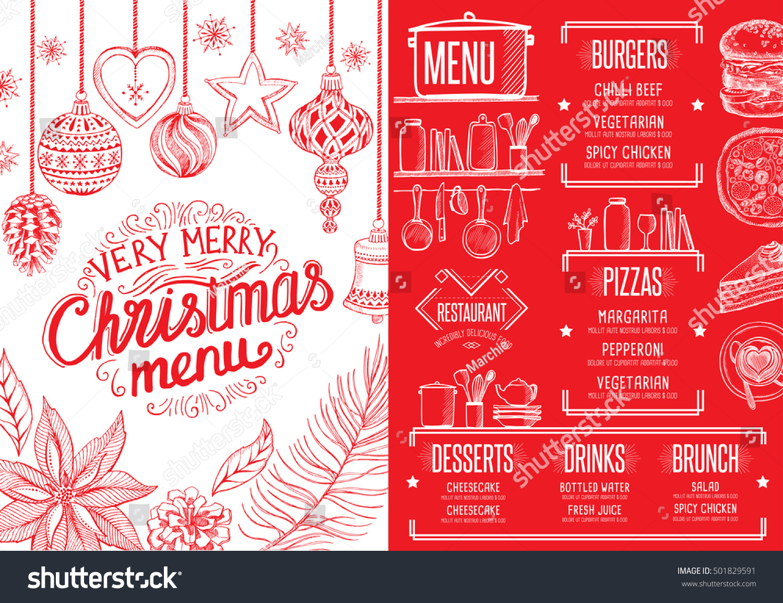 Christmas Restaurant Brochure Menu Template Vector Stock Vector ...