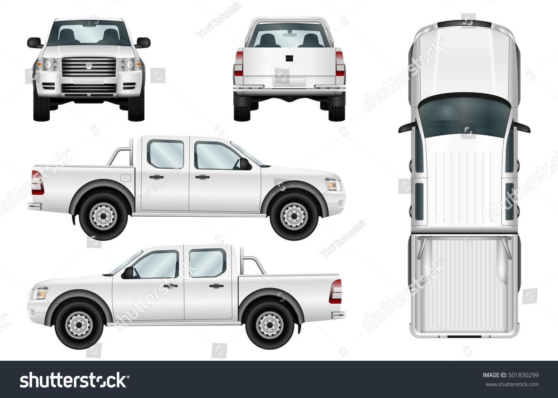 Pickup Truck Vector Template Isolated Car Vector de stock (libre de ...
