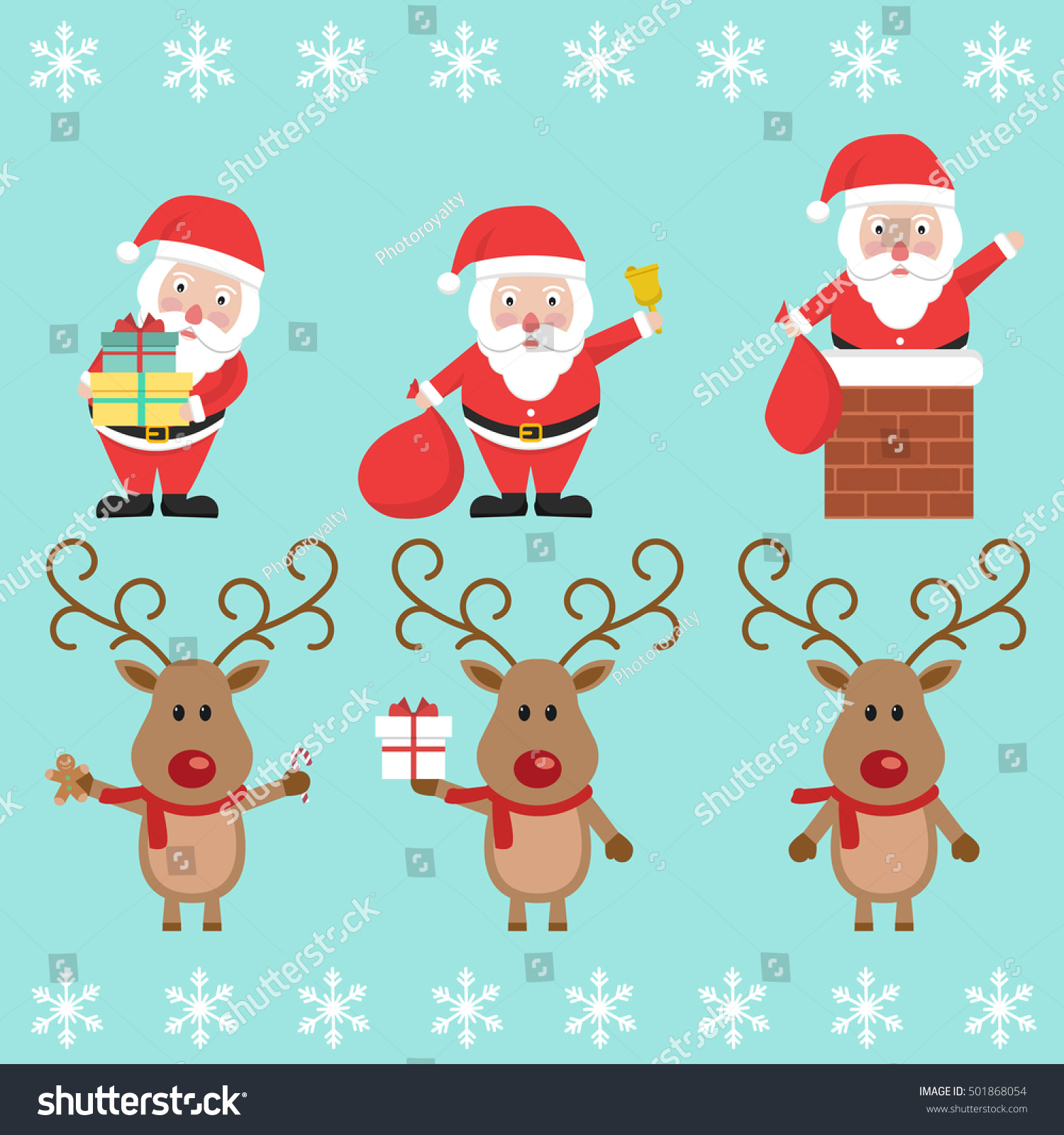 santa claus christmas reindeer funny cartoon stock vector