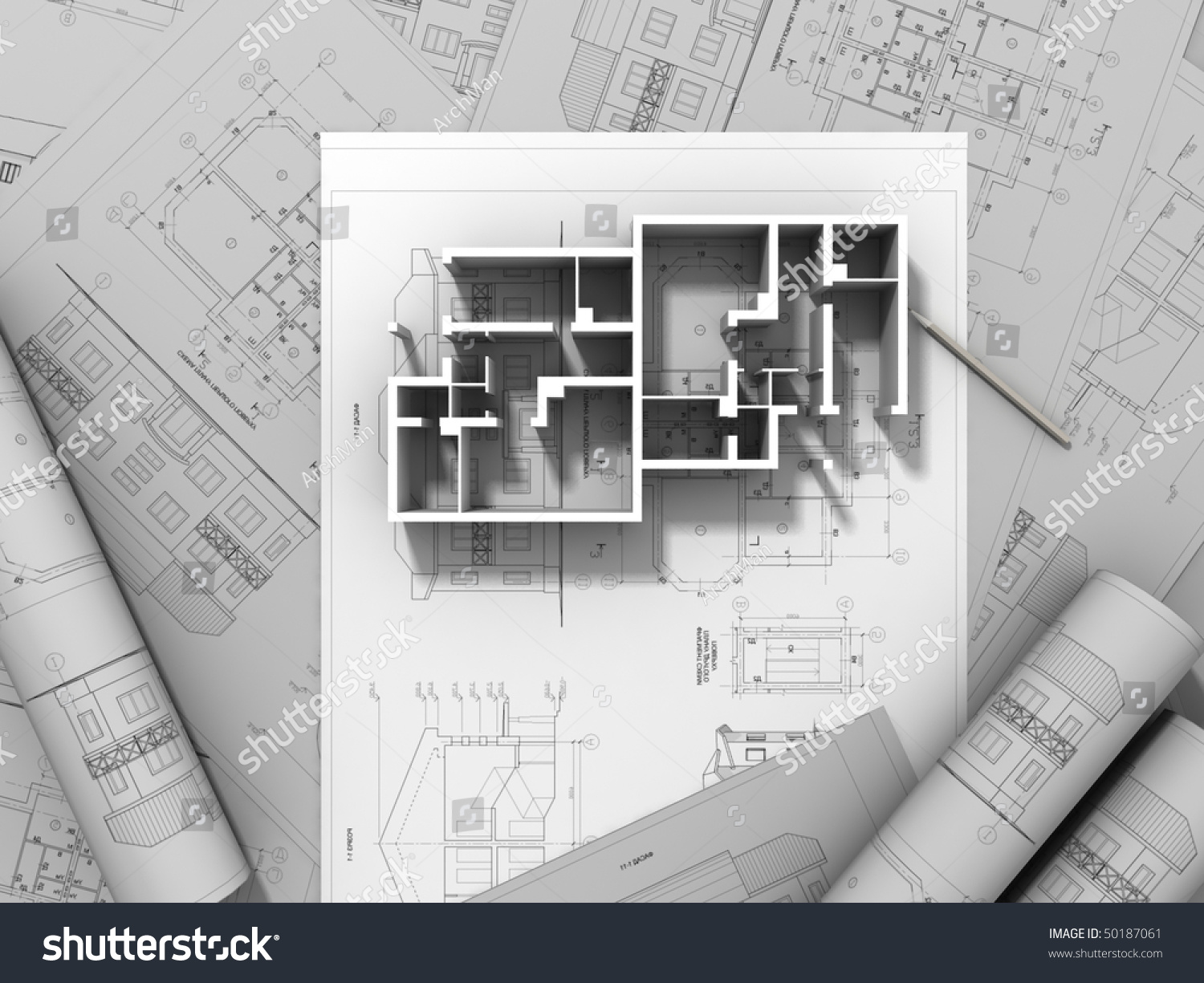 3d plan drawing stock photo 50187061 shutterstock for 3d plan drawing