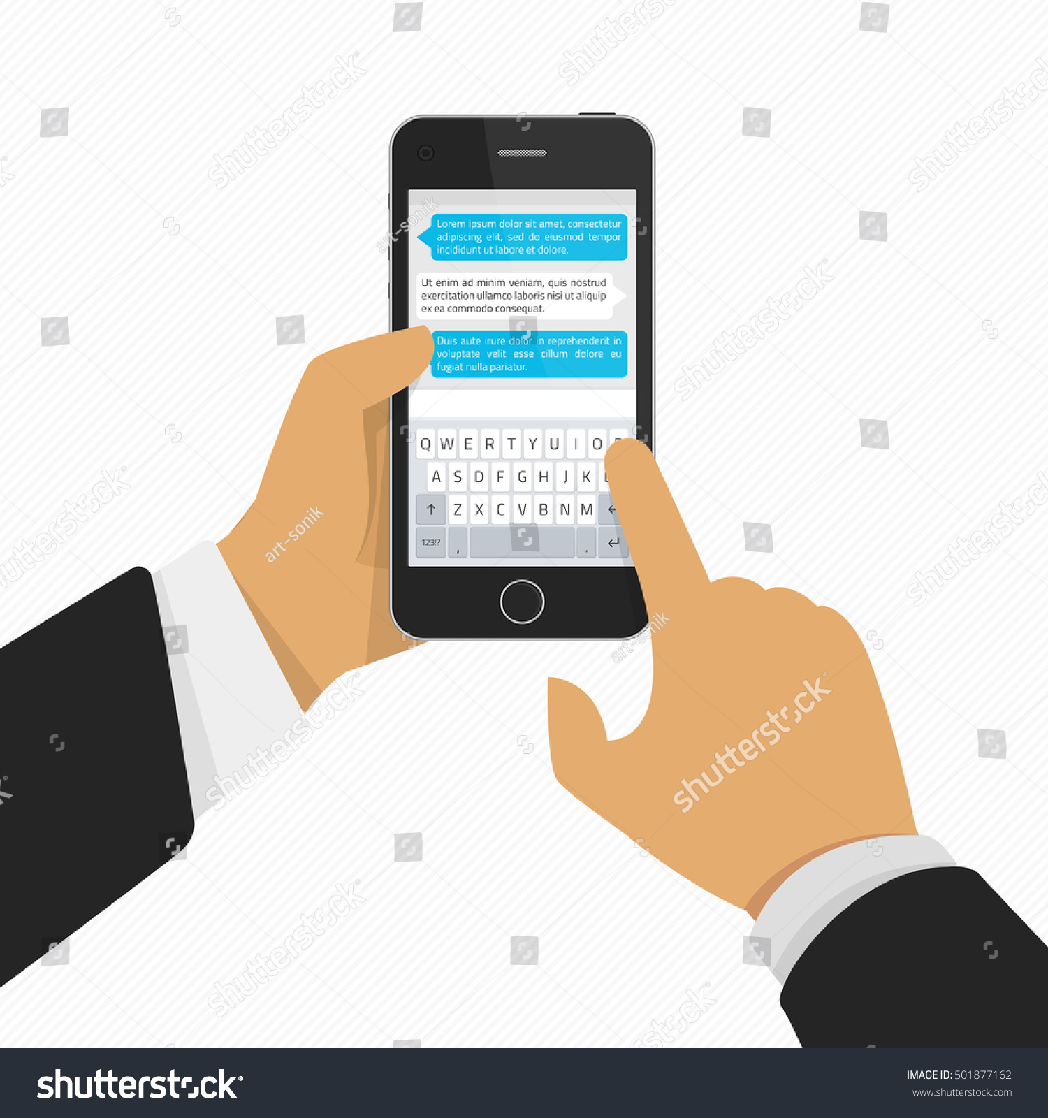 hand holding phone keyboard phone message stock vector 501877162 shutterstock. Black Bedroom Furniture Sets. Home Design Ideas