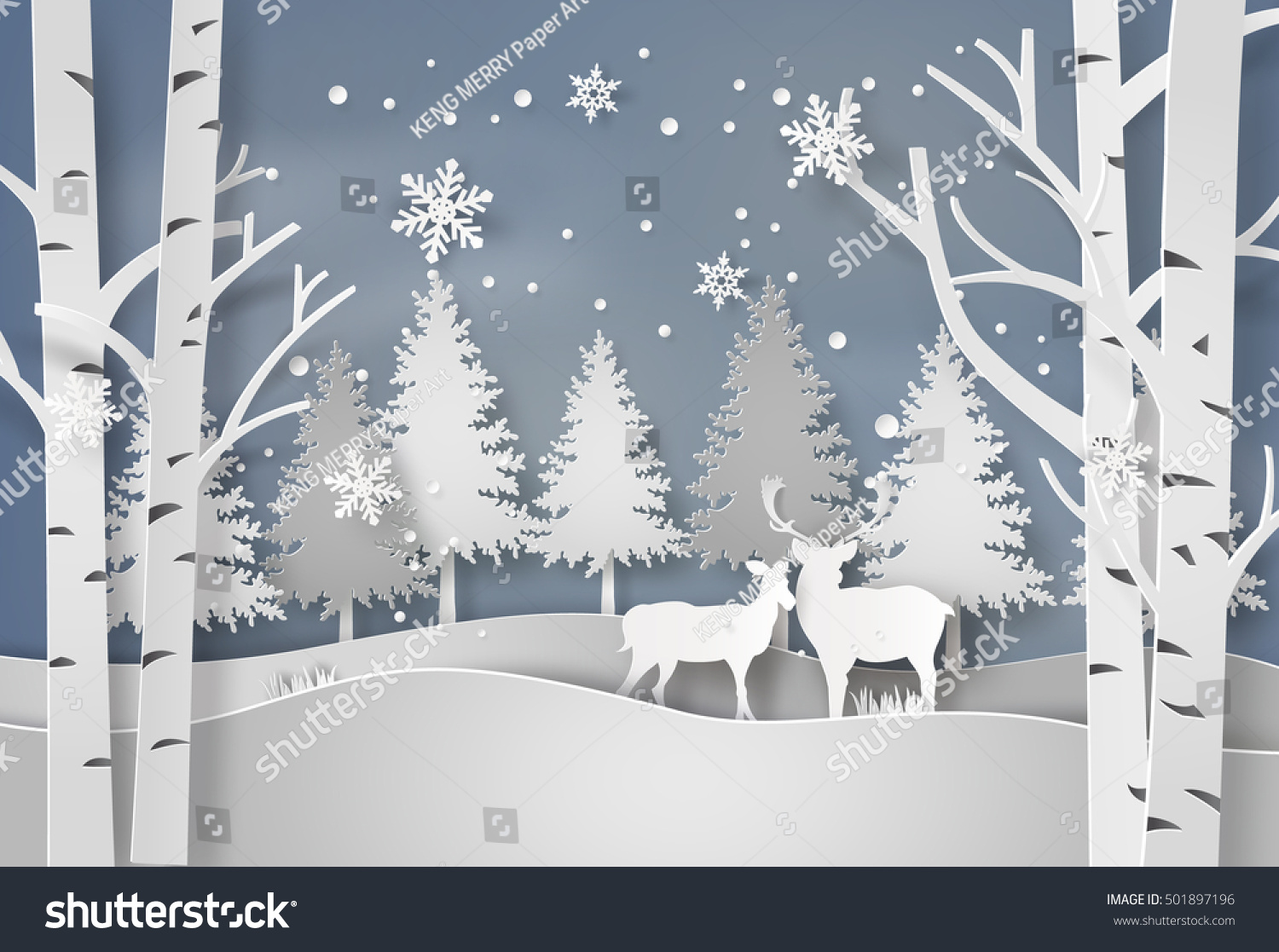 Deer in forest with snow in christmas and winter season,paper art style.