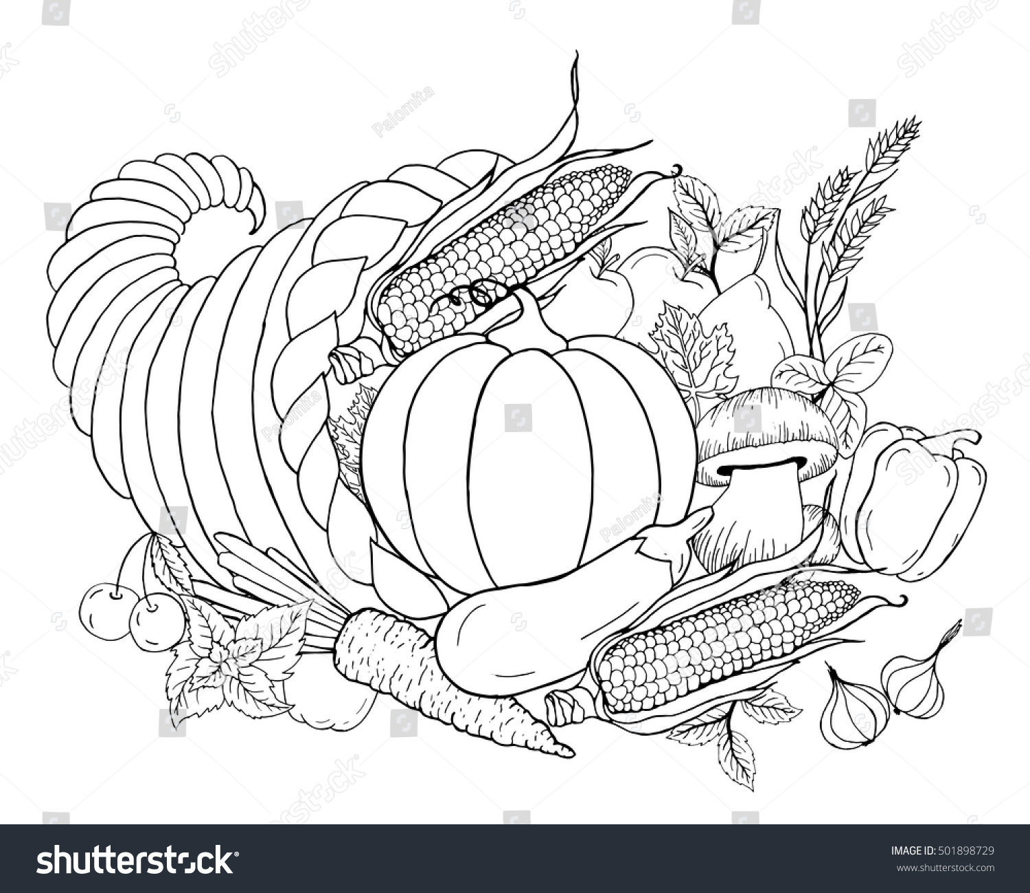 thanksgiving cornucopia vegetables horn plenty black stock vector