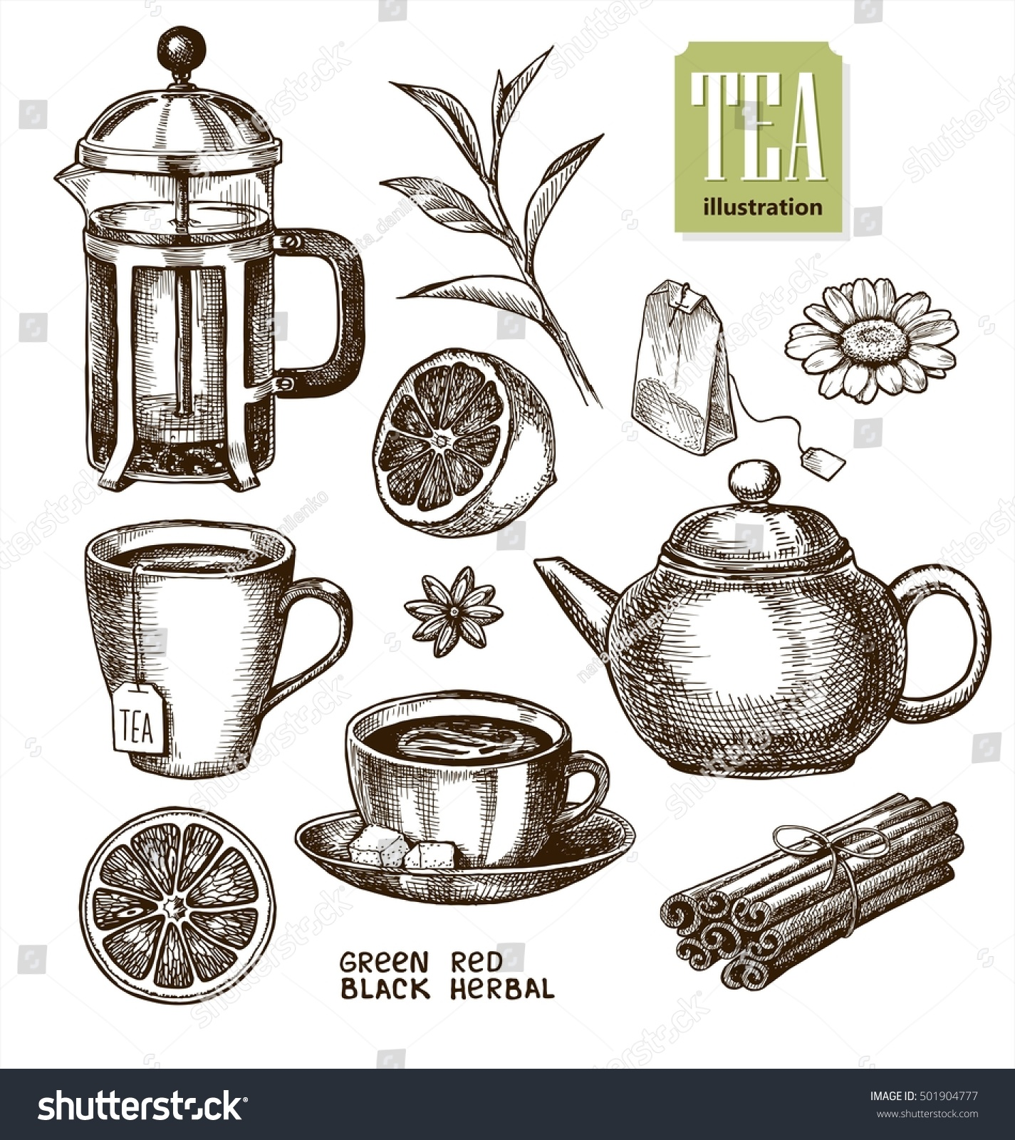 Collection of hand drawn sketches on the theme of tea
