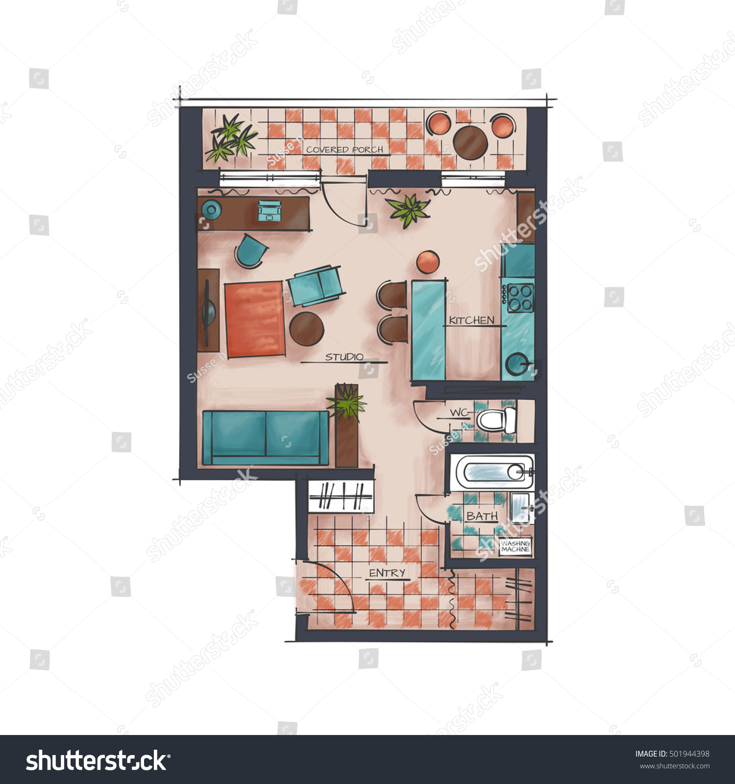 Architectural 3d Floor Plan Rendering: Architectural Color Floor Plan Studio Apartment Stock