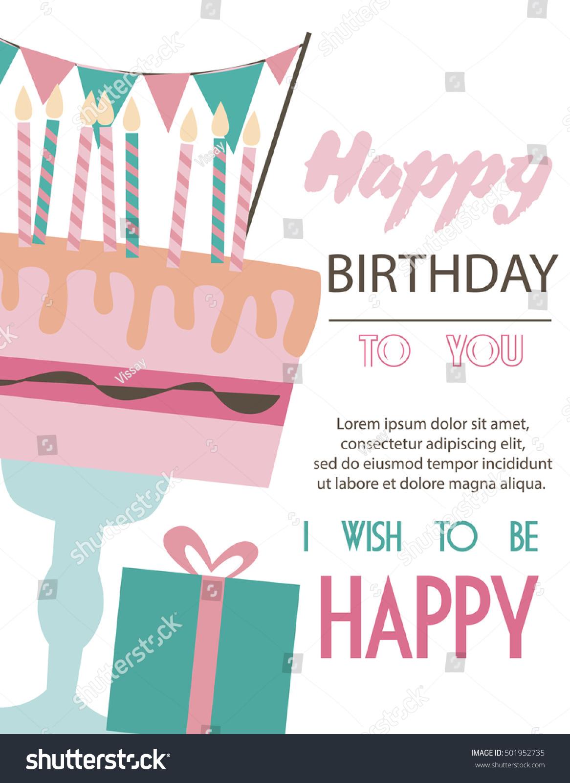 Cute Happy Birthday Card Invitation Greeting Stock Vector 501952735 ...