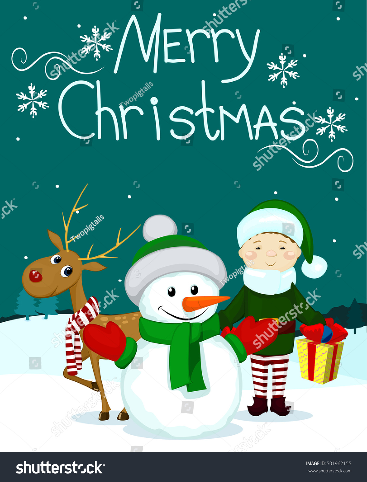Santa And Friends Snowman Elf Gift Marry Christmas Card Ez Canvas