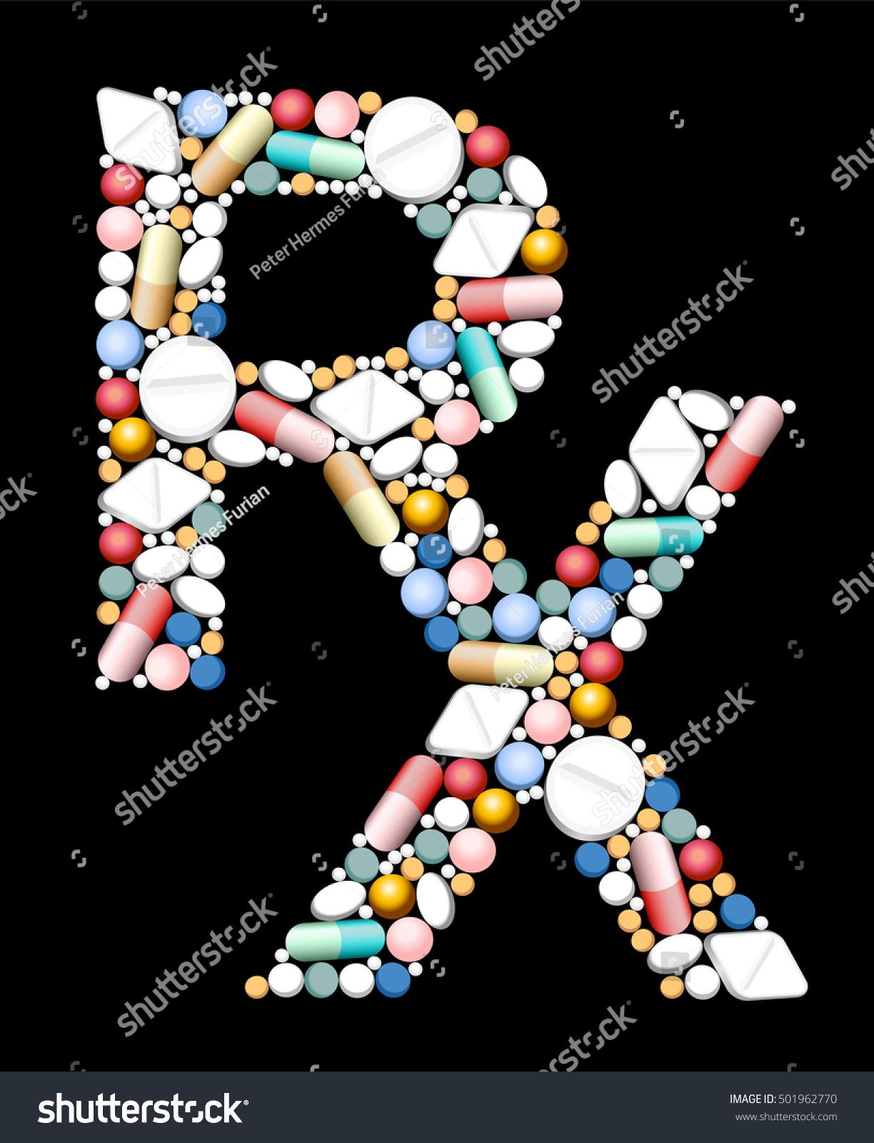 Rx Symbol Medical Prescription Composed Pills Stock Vector Royalty