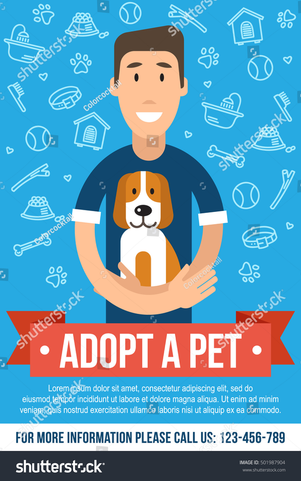 Vector Template For Pet Adoption Poster. Happy Man Is Hugging An Adopted Dog.  Flat