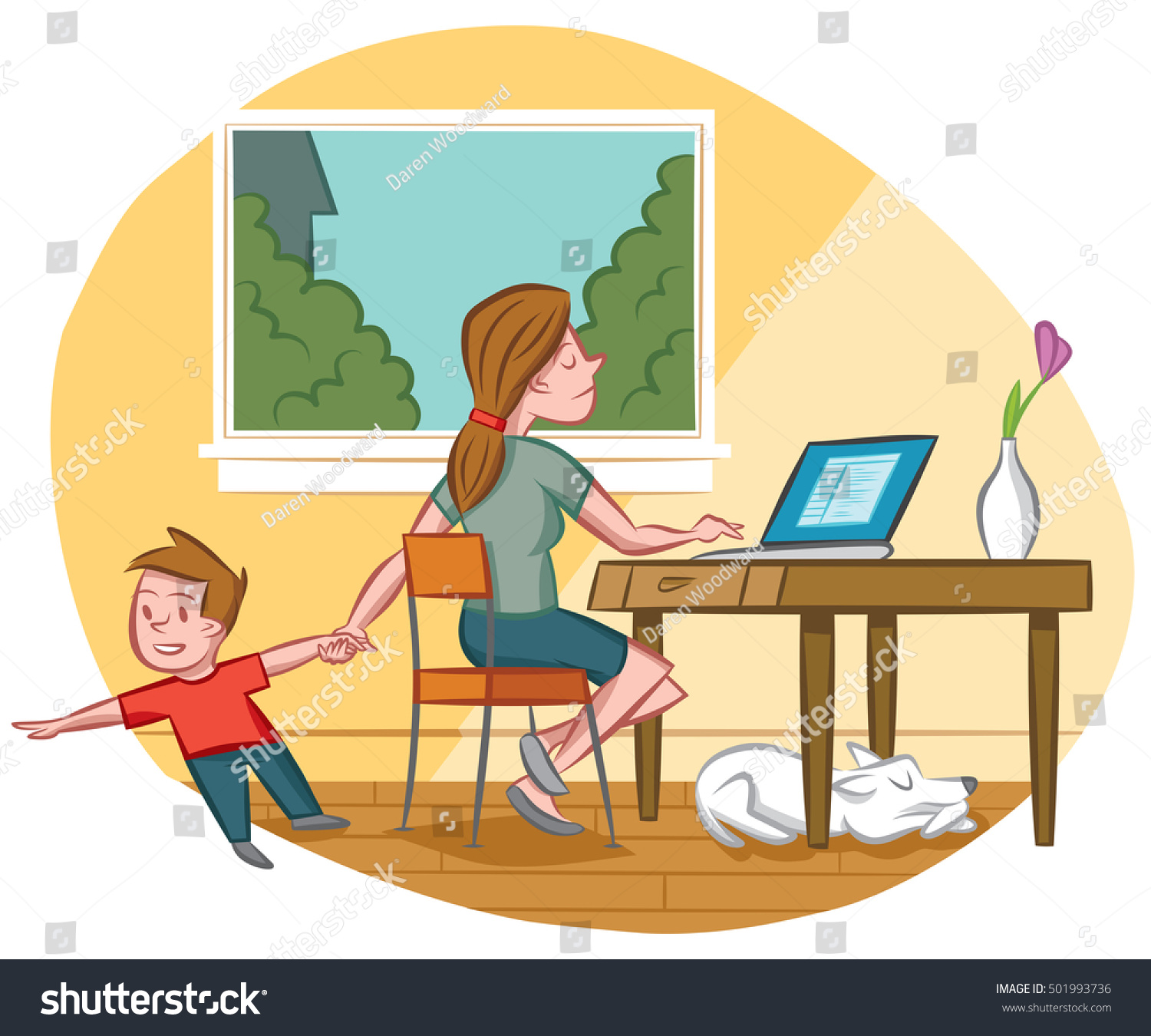 home office multitasking. perfect office multitasking mom works from home while taking care of her son throughout home office b
