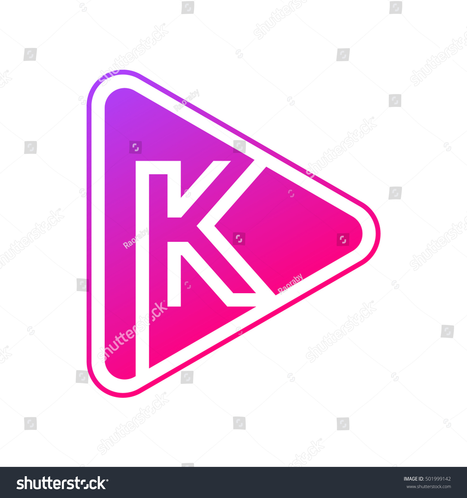 Letter K Rounded Triangle Shape Colorful Multimedia Stock Vector ...
