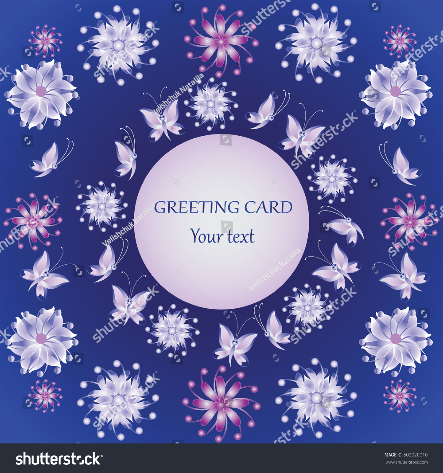 Winter Flowers Greeting Card Design Greetings Stock Vector Royalty