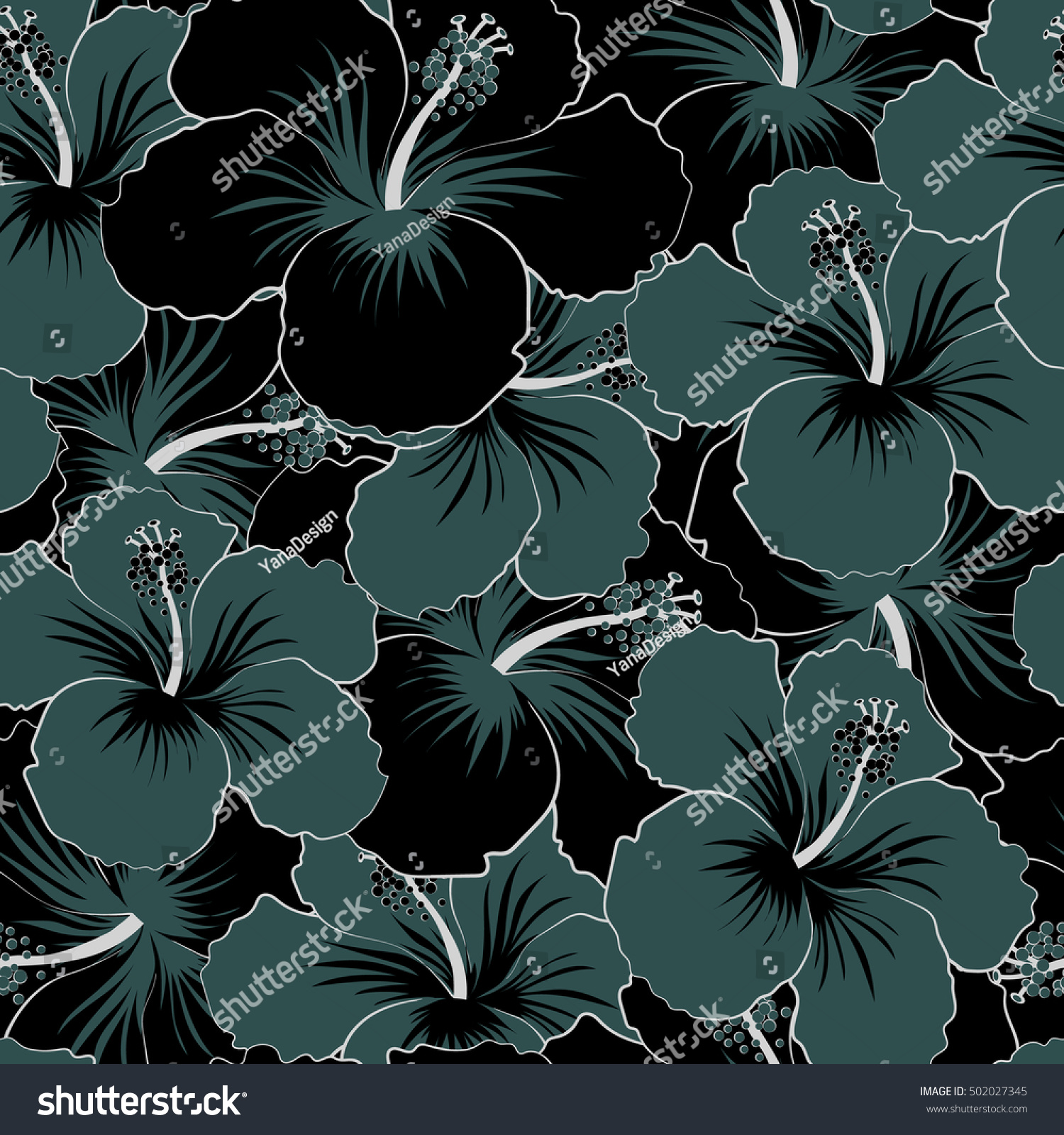 Gray and white hibiscus flowers seamless pattern vector gray and white hibiscus flowers seamless pattern vector illustration ez canvas izmirmasajfo
