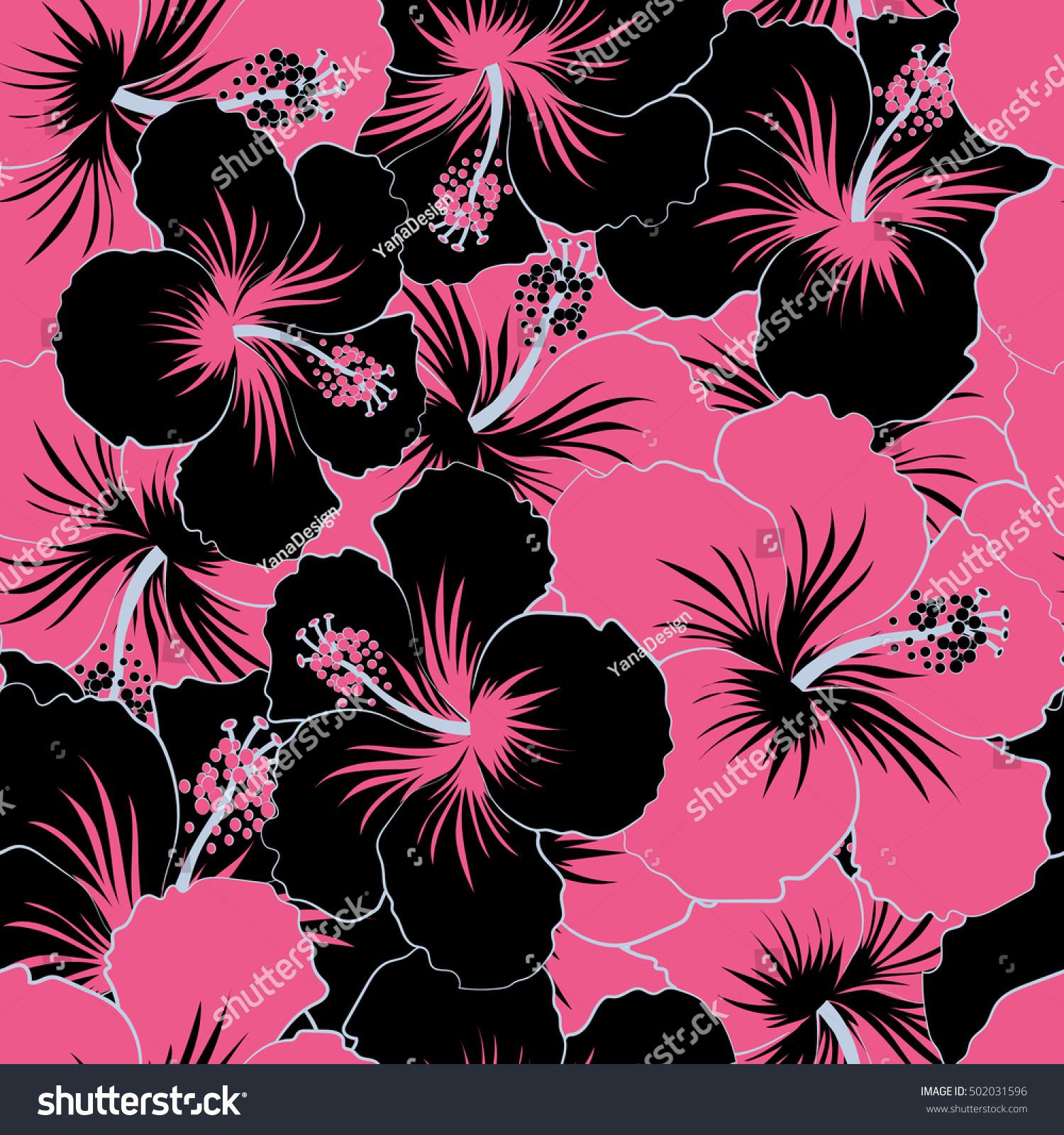 Sc Design Stoelen.Tropical Floral Seamless Pattern Black Pink Stock Vector Royalty