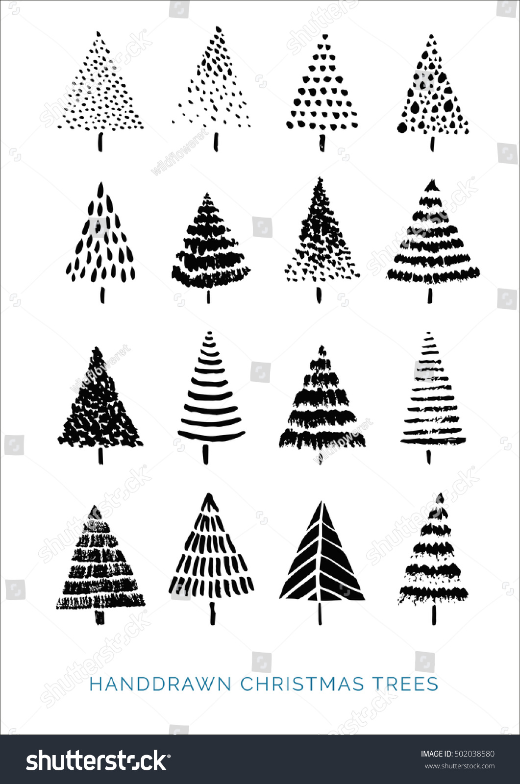 Uncategorized Drawn Christmas Trees set hand drawn christmas trees your stock vector 502038580 the of for design abstract geometric symbols and shapes