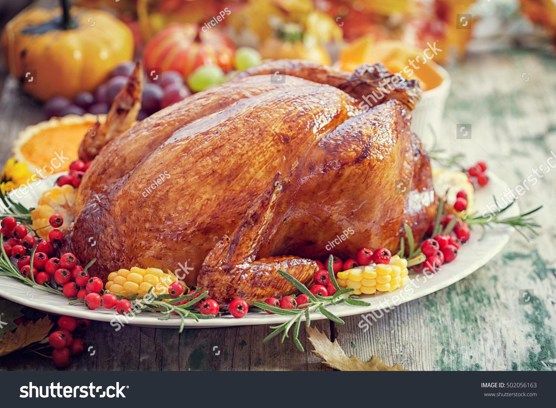 Thanksgiving Turkey dinner table setting & Thanksgiving Turkey Dinner Table Setting Stock Photo (Royalty Free ...